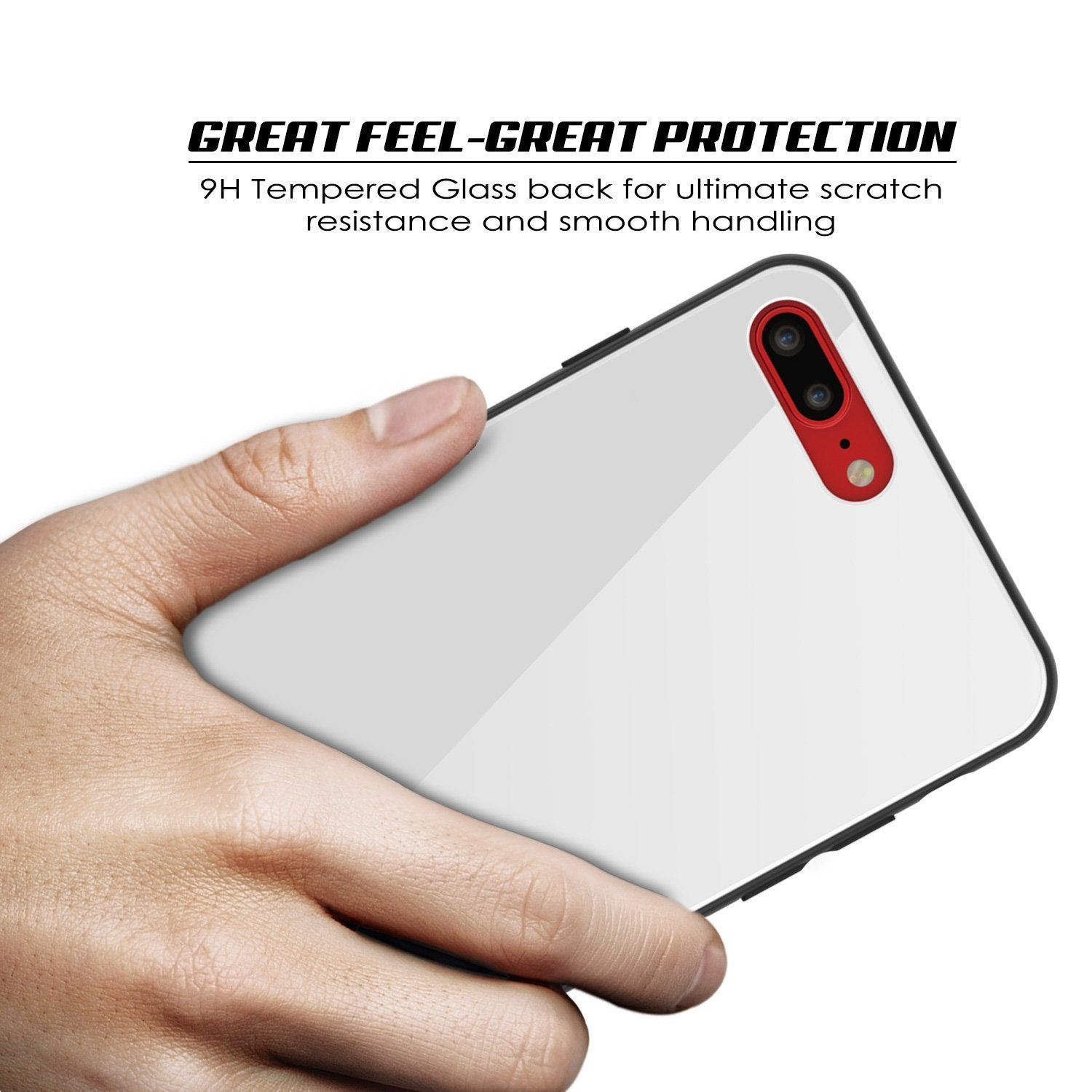 iPhone 8 PLUS Case, Punkcase GlassShield Ultra Thin Protective 9H Full Body Tempered Glass Cover W/ Drop Protection & Non Slip Grip for Apple iPhone 7 PLUS / Apple iPhone 8 PLUS (White)