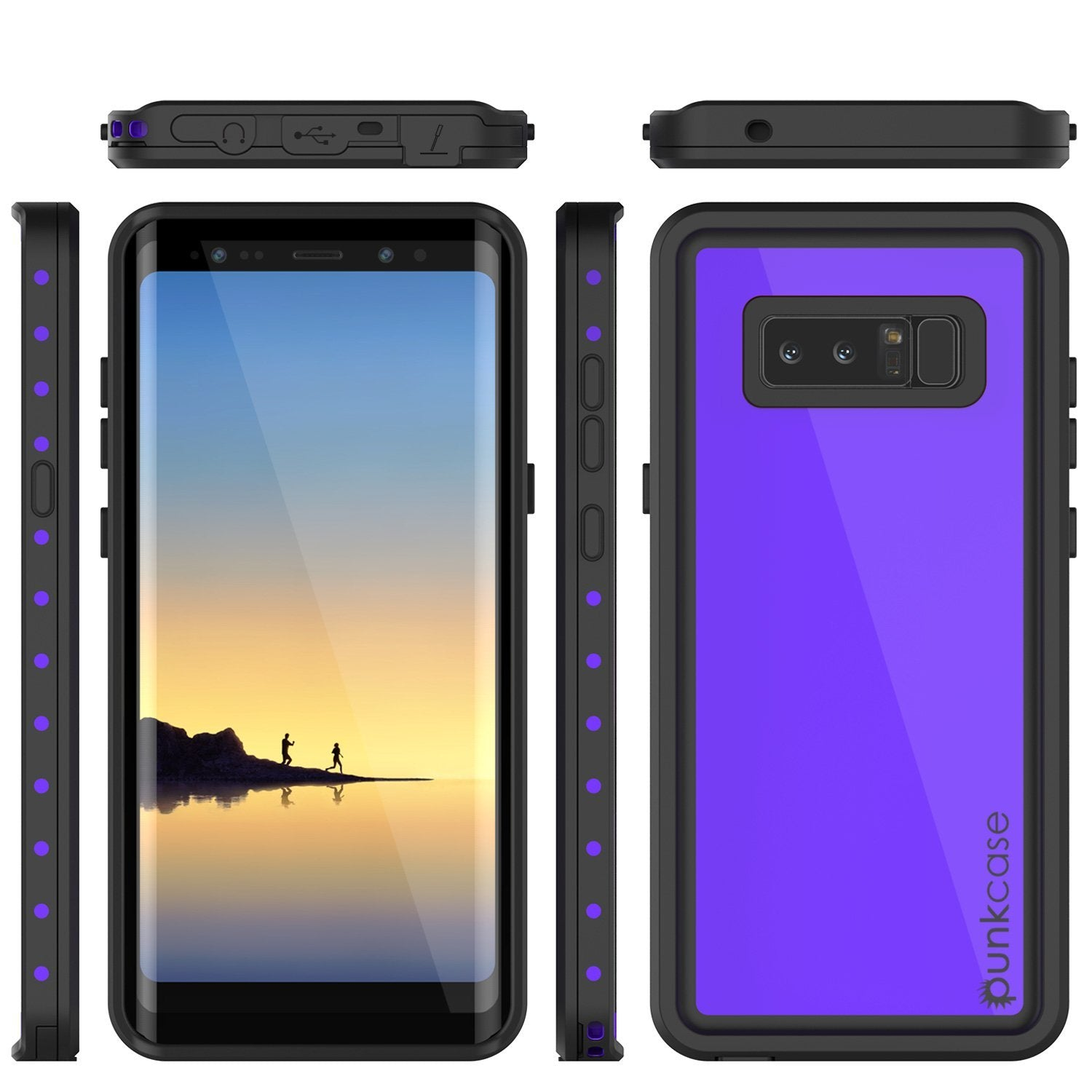 Galaxy Note 8 Waterproof case, StudStar Series Armor Cover [PURPLE]