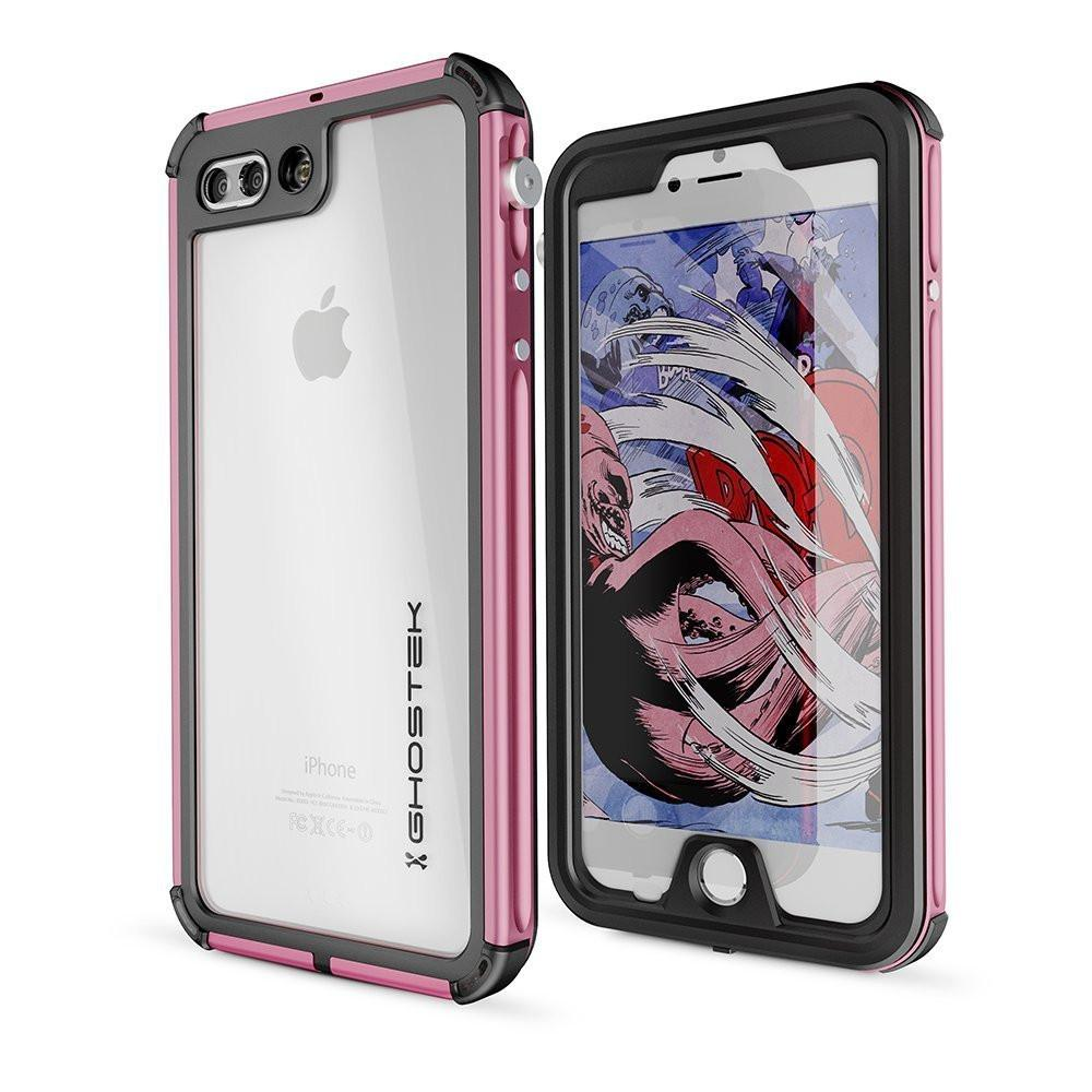 iPhone 7+ Plus Waterproof Case, Ghostek® Atomic 3 Series for Apple iPhone 7+ Plus | Underwater | Shockproof | Dirt-proof | Snow-proof | Aluminum Frame | Adventure Ready | Ultra Fit | Swimming (Pink)