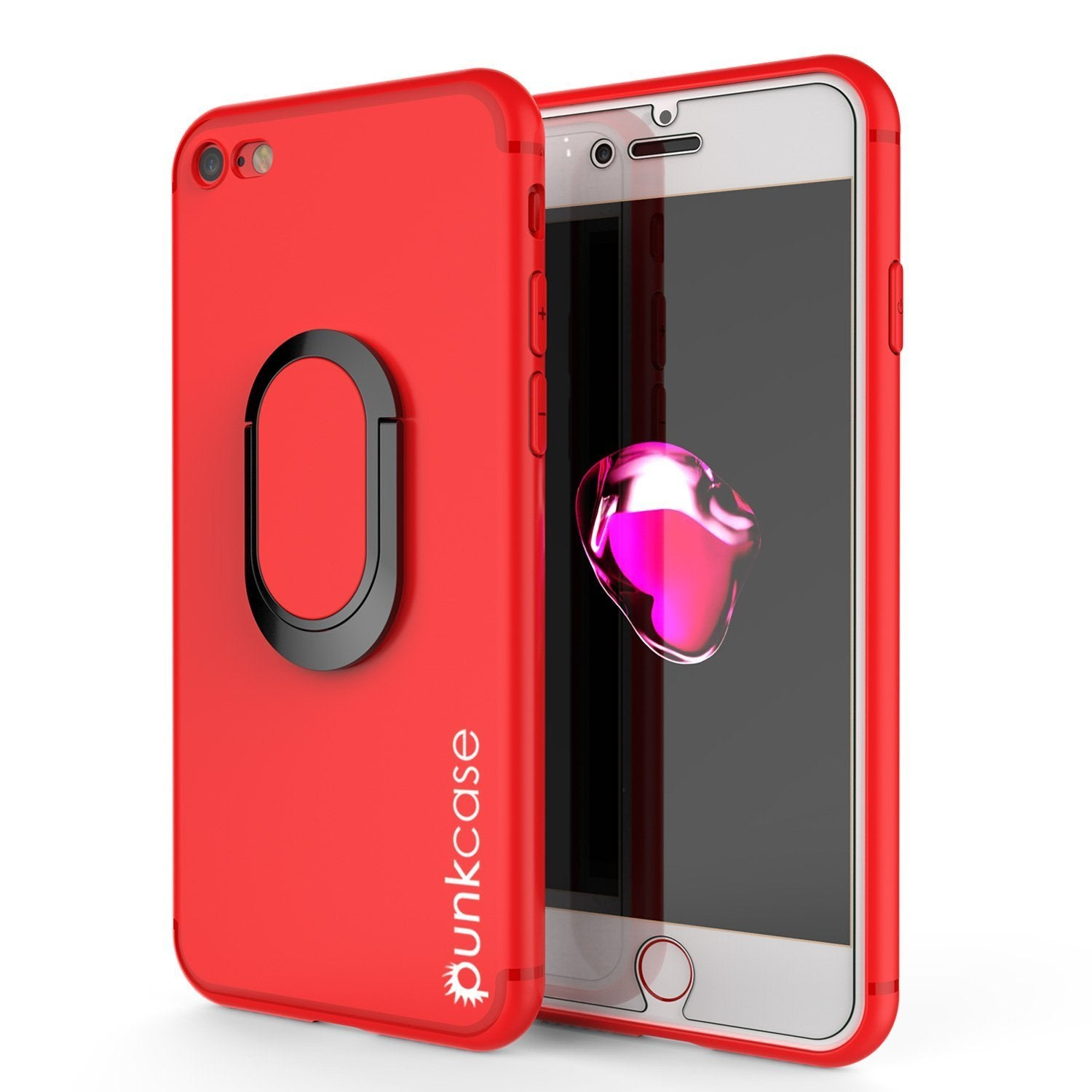 iPhone 8 Case, Punkcase Magnetix Protective TPU Cover W/ Kickstand, Ring Grip Holder & Metal Plate for Magnetic Car Phone Mount PLUS Tempered Glass Screen Protector for Apple iPhone 6 /7 & 8 [red]