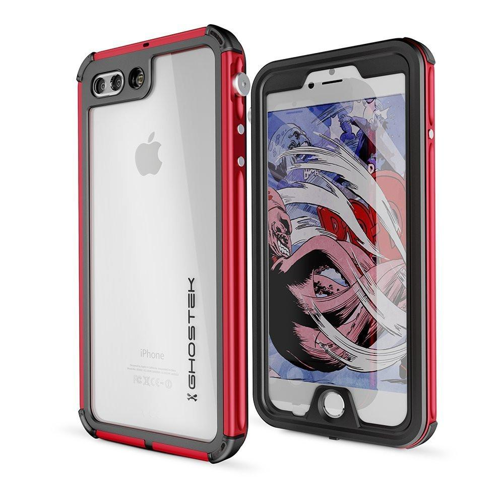 iPhone 7+ Plus Waterproof Case, Ghostek® Atomic 3 Series for Apple iPhone 7+ Plus | Underwater | Shockproof | Dirt-proof | Snow-proof | Aluminum Frame | Adventure Ready | Ultra Fit | Swimming (Red)
