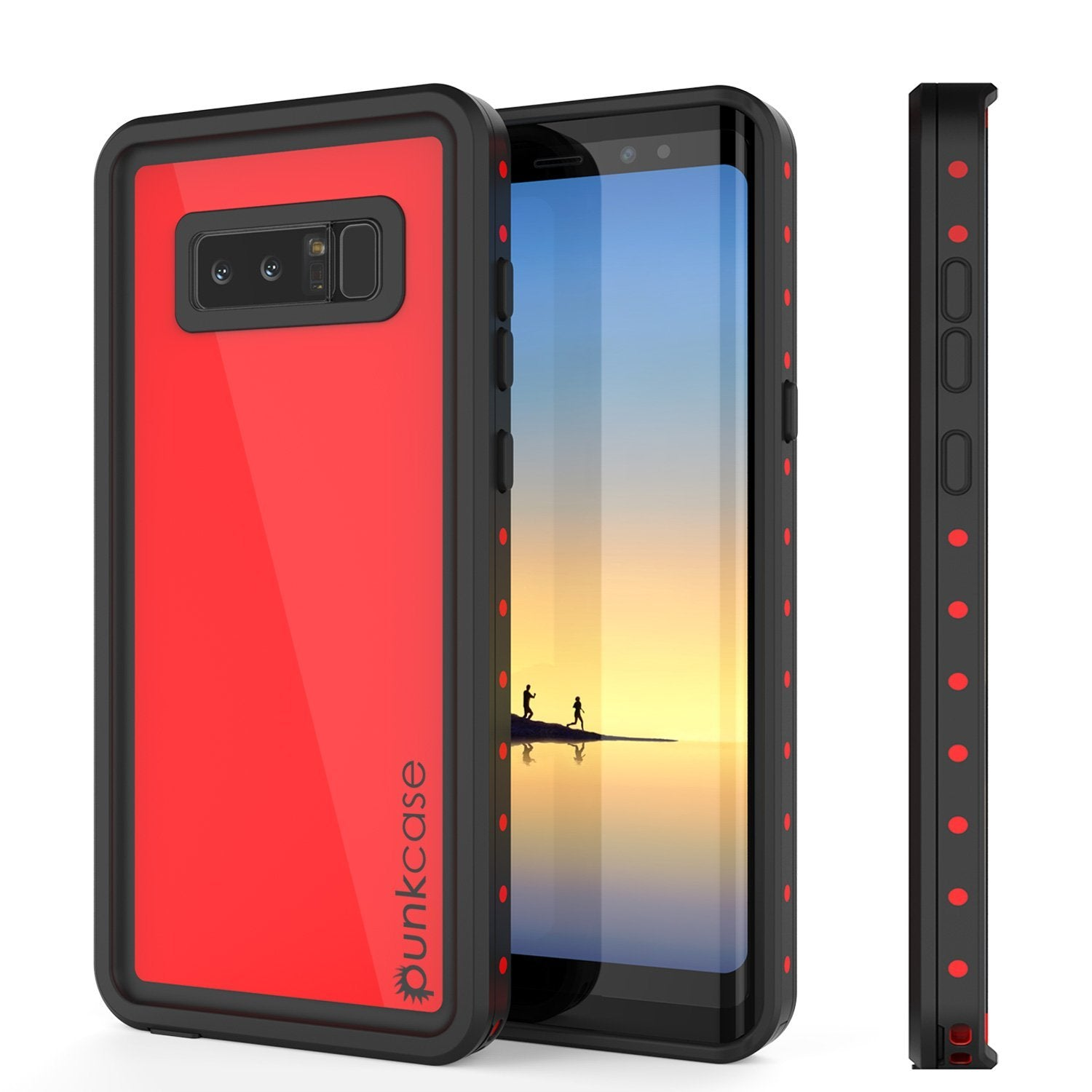 Galaxy Note 8 Waterproof case, StudStar Series Armor Cover, [RED]