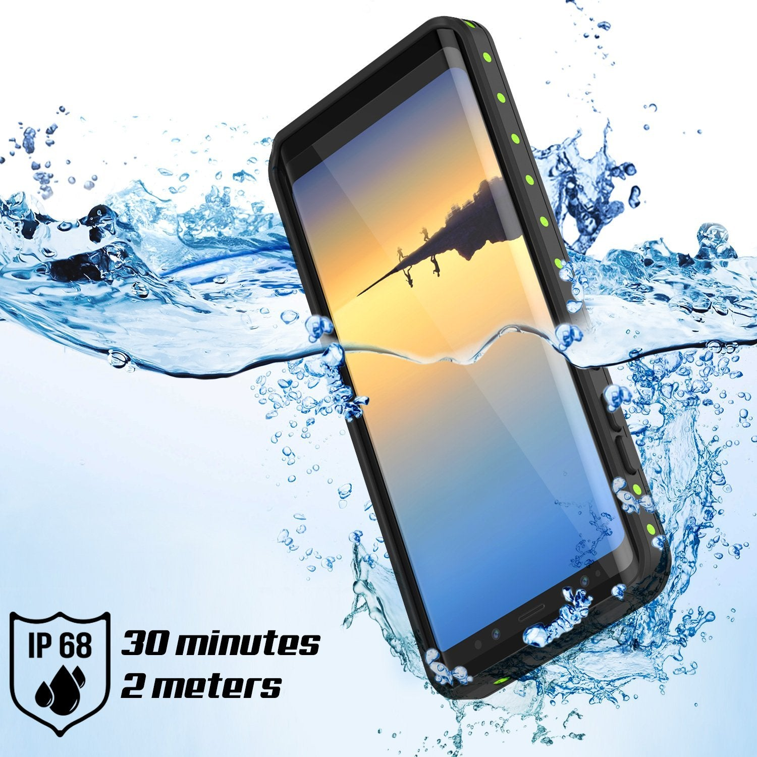 Galaxy Note 8 Waterproof case, StudStar Series Armor Cover, LIGHT BLUE