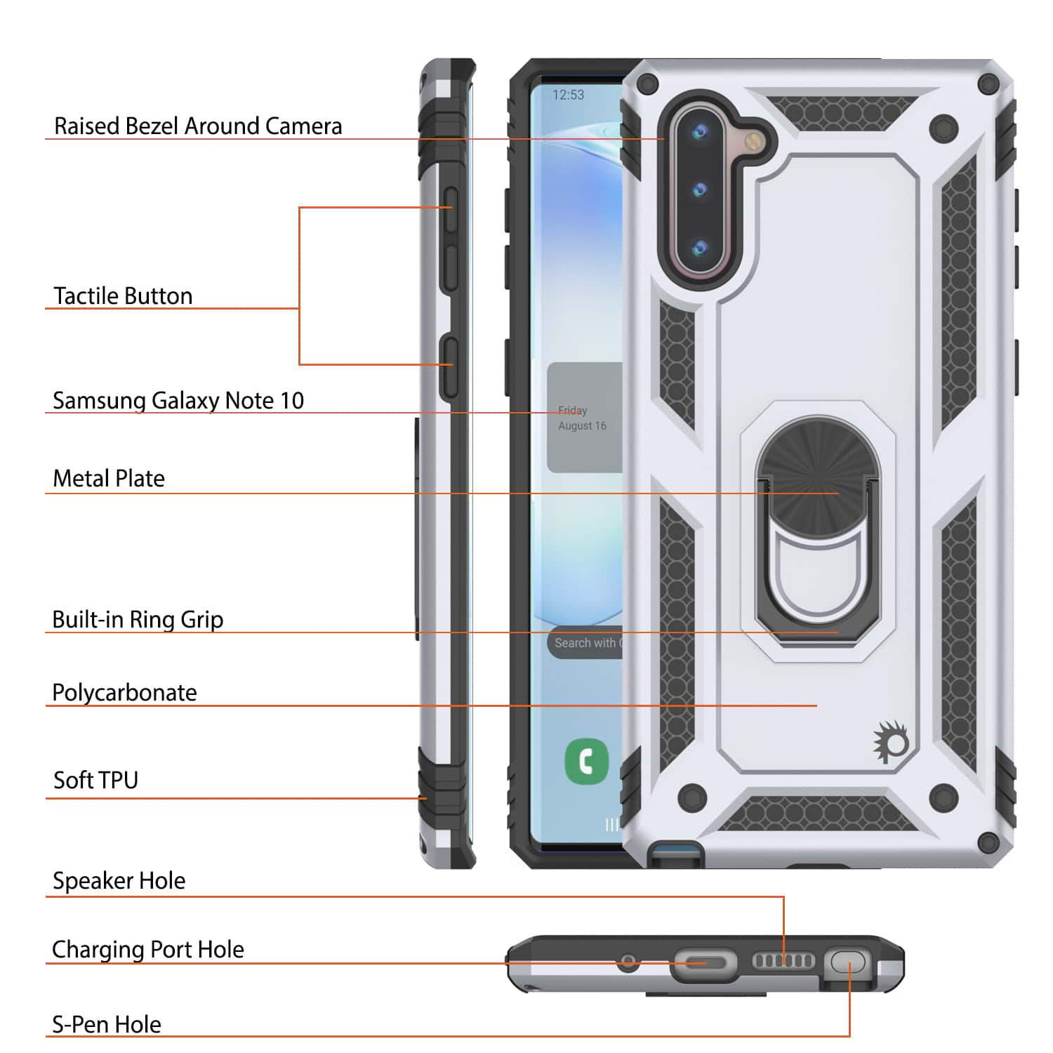 Galaxy Note 10 Punkcase Armor Military Case Silver