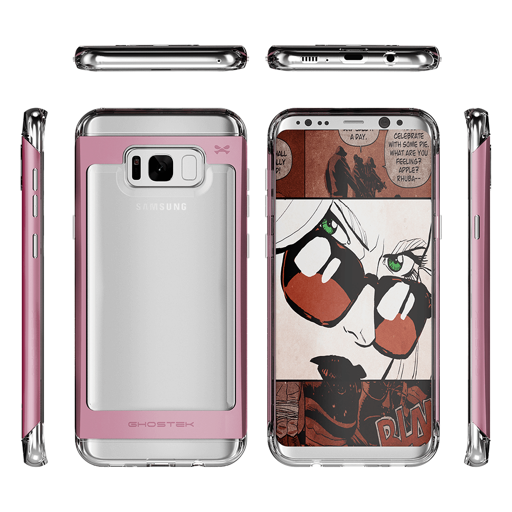 Galaxy S8 Case, Ghostek 2.0 PINK, w/Screen Protector Aluminum Frame