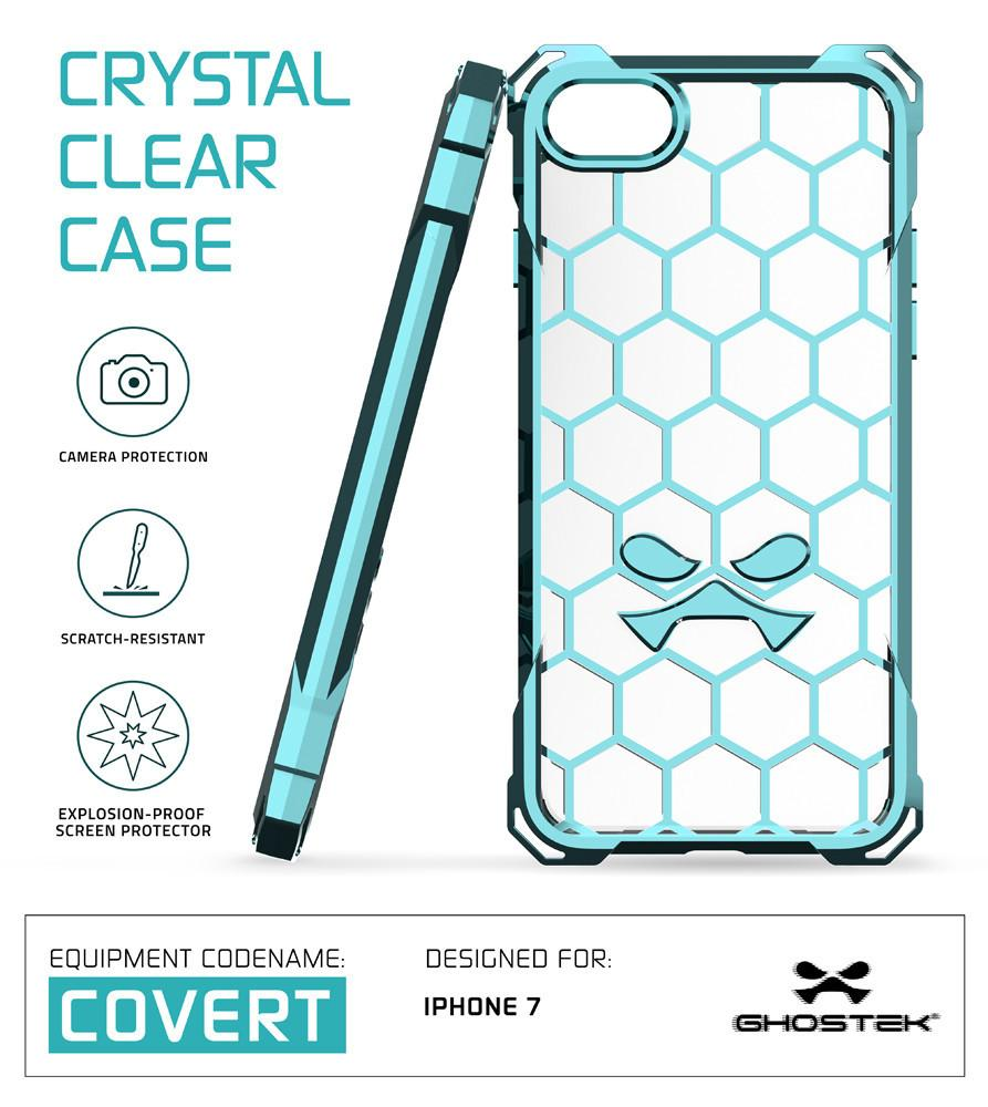 iPhone 7 Case, Ghostek® Covert Teal Series for Apple iPhone 7 Premium Impact Protective Armor Case Cover | Clear TPU | Lifetime Warranty Exchange | Explosion-Proof Screen Protector | Ultra Fit (Teal)