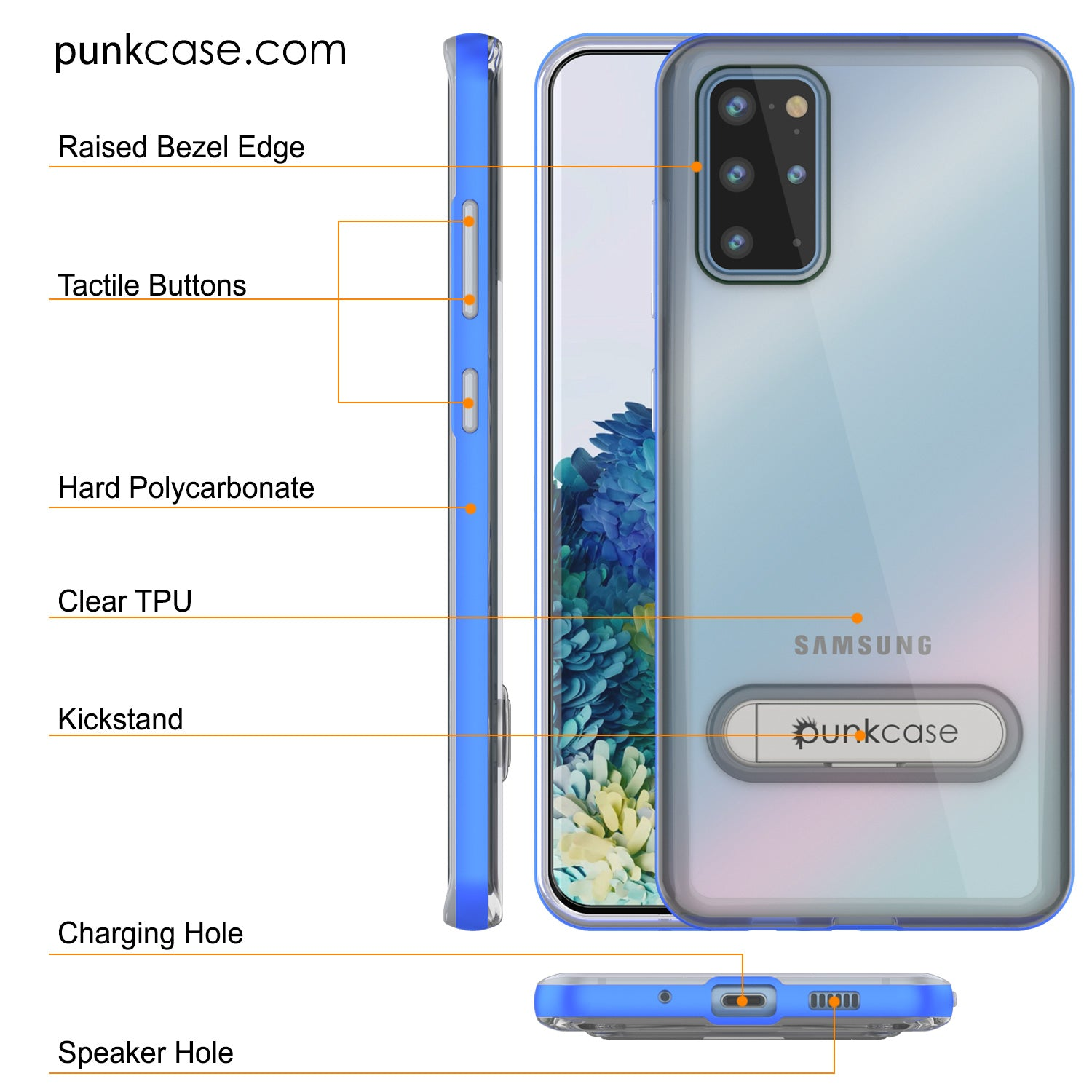 Galaxy S20+ Plus Case, PUNKcase [LUCID 3.0 Series] [Slim Fit] Armor Cover w/ Integrated Screen Protector [Blue]