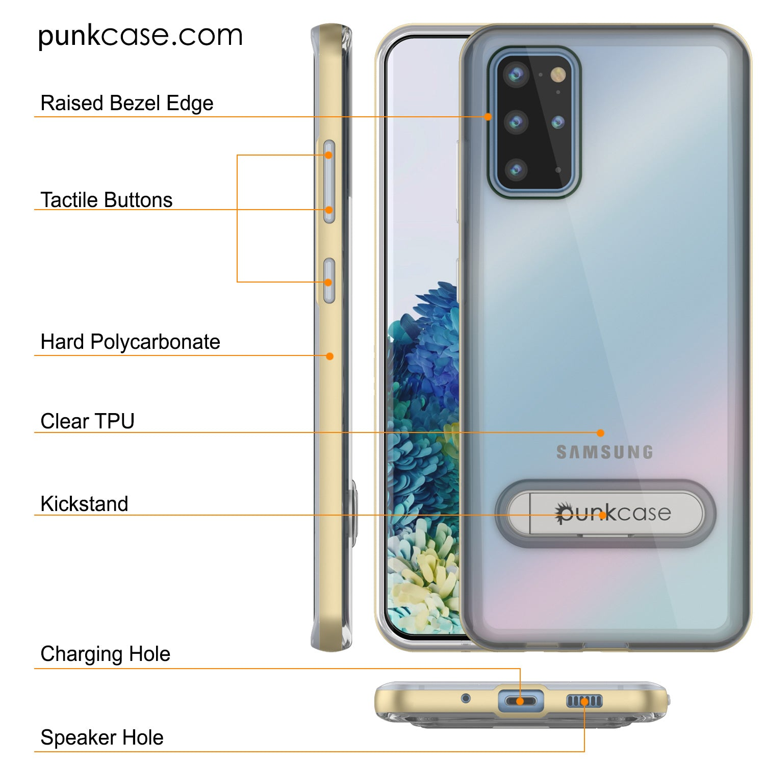 Galaxy S20+ Plus Case, PUNKcase [LUCID 3.0 Series] [Slim Fit] Armor Cover w/ Integrated Screen Protector [Gold]