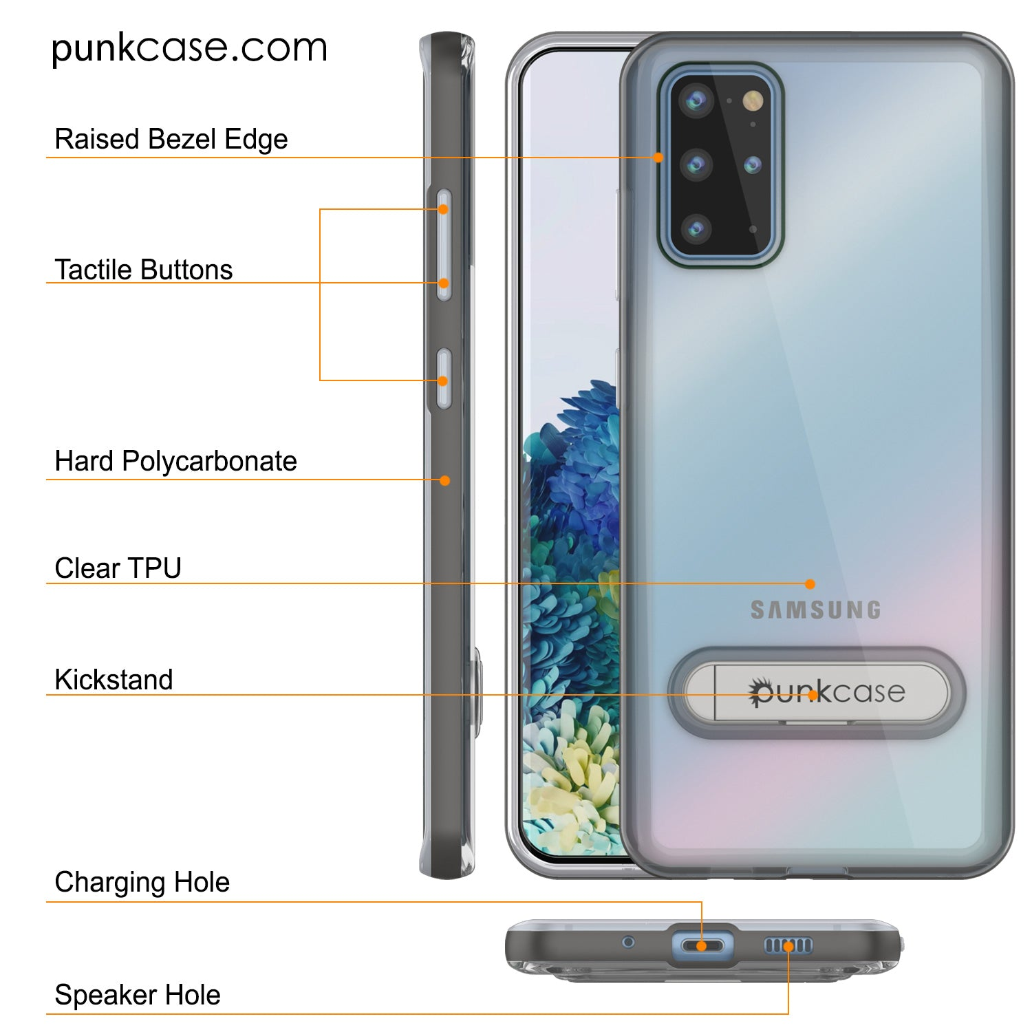 Galaxy S20+ Plus Case, PUNKcase [LUCID 3.0 Series] [Slim Fit] Armor Cover w/ Integrated Screen Protector [Grey]