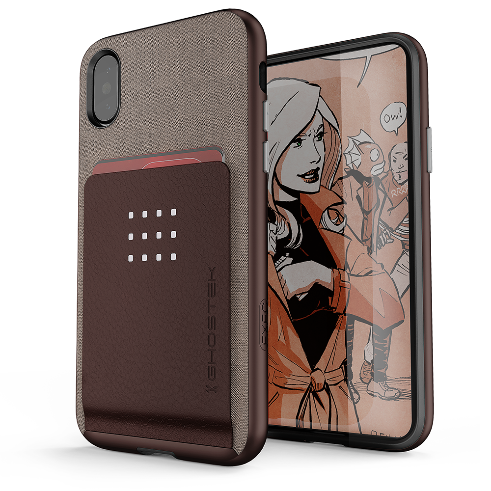 iPhone X Case, Ghostek Exec 2 Series Protective Wallet Case [Brown]