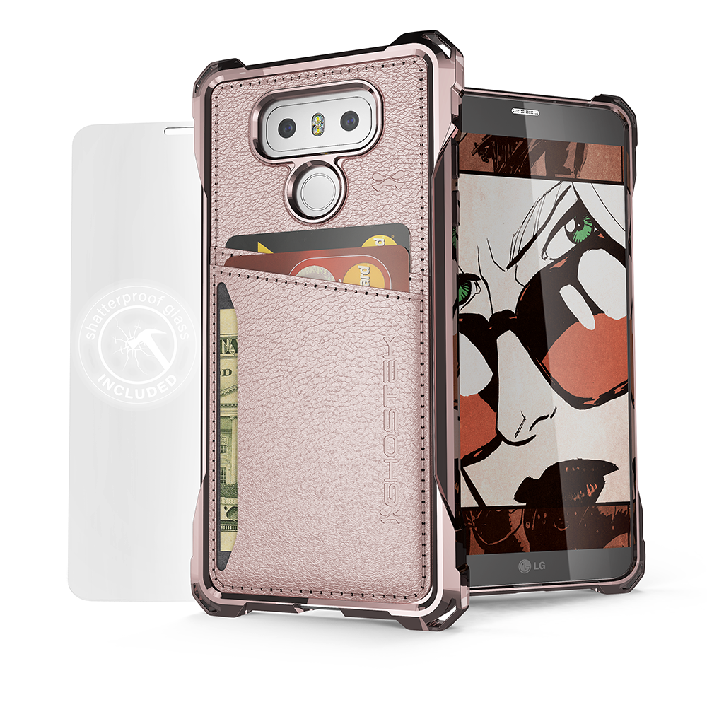 LG G6 Wallet Case, Ghostek Exec Pink Series | Slim Armor Hybrid Impact Bumper | TPU PU Leather Credit Card Slot Holder Sleeve Cover