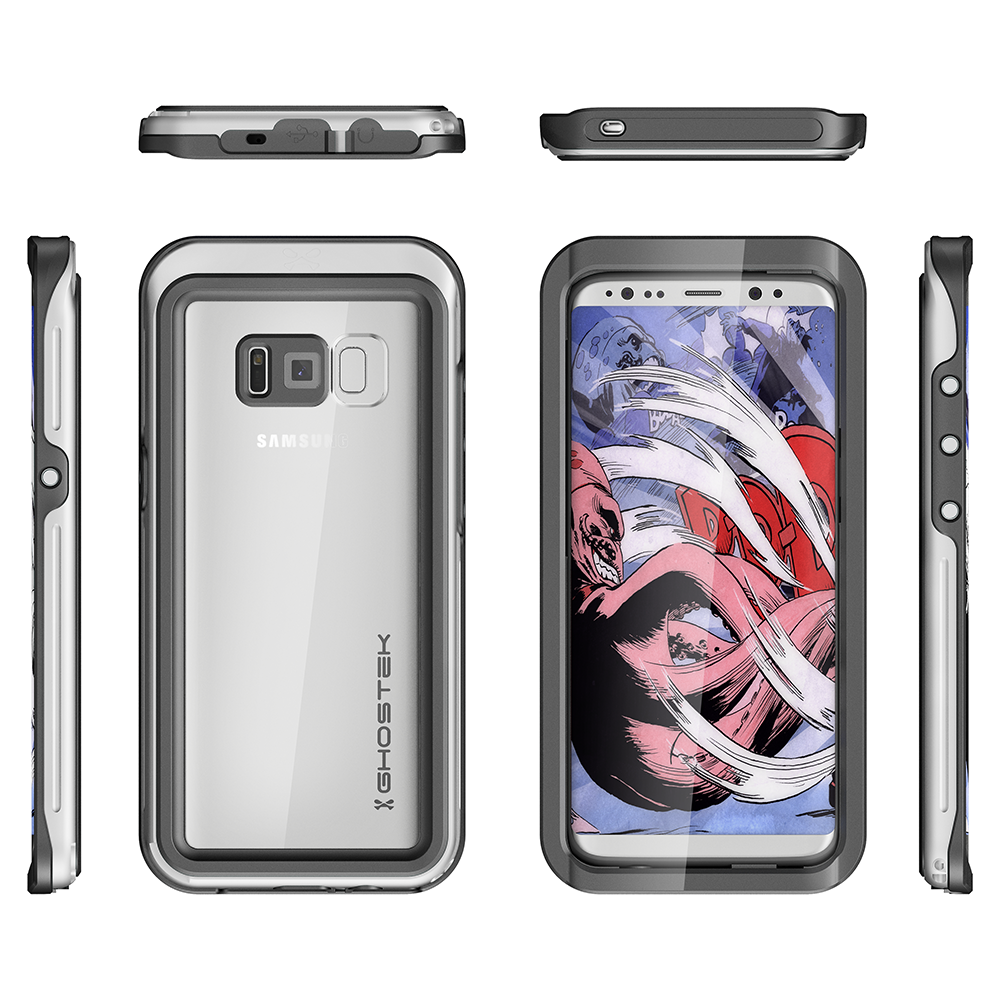 Galaxy S8 Waterproof Case, Ghostek Atomic 3 Aluminum Frame, Silver