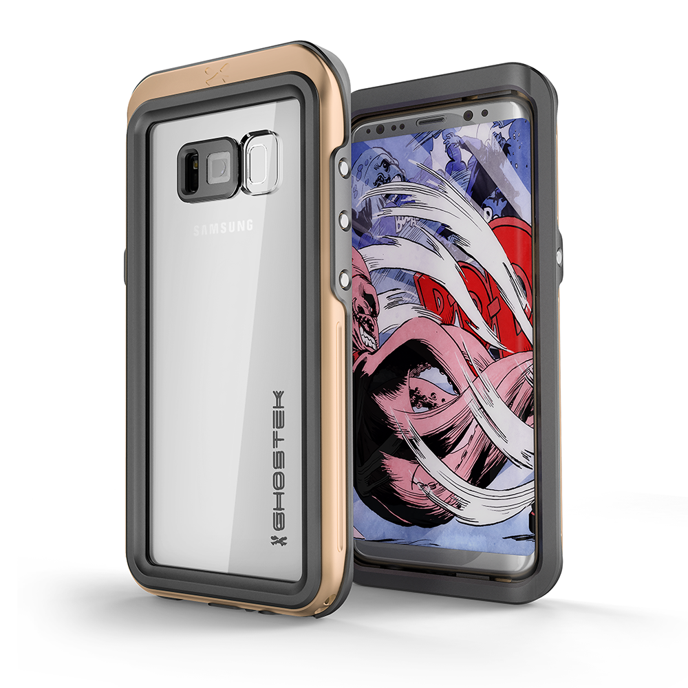 Galaxy S8 Waterproof PunkCase, Ghostek Atomic 3 Aluminum Frame, Gold