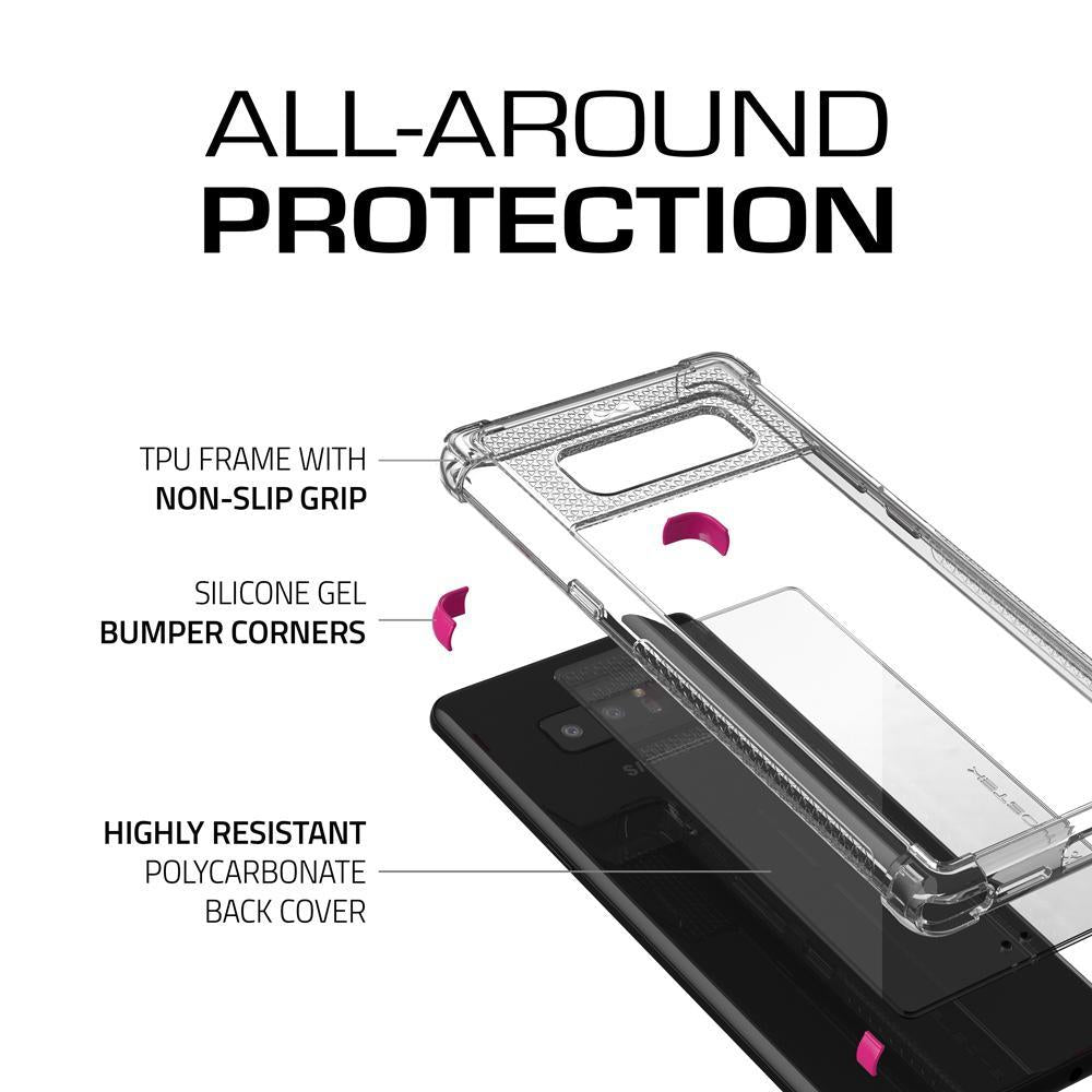Galaxy Note 8 Punk Case, Ghostek Atomic Slim Shockproof Case, Pink