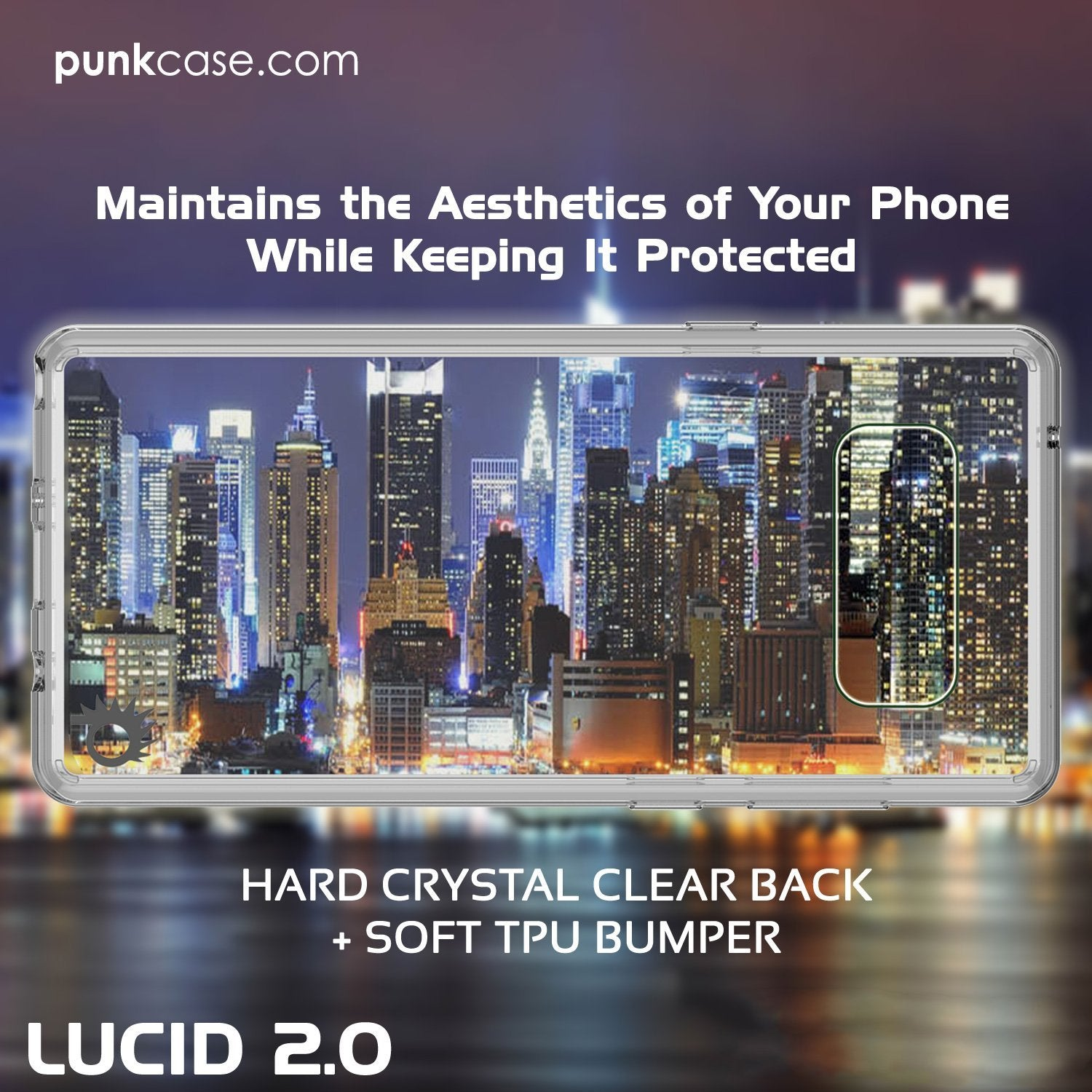 Galaxy Note 8 Punkcase, LUCID 2.0 Series Armor Cover, [Clear]