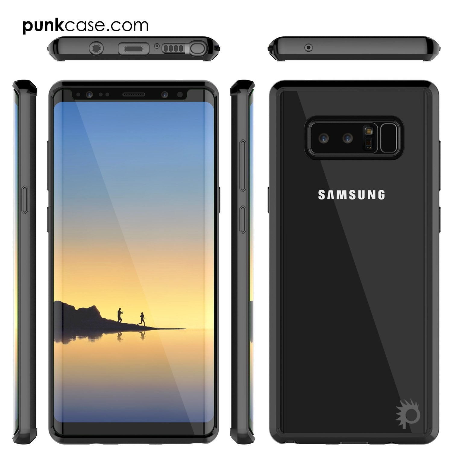 Galaxy Note 8 Punkcase, LUCID 2.0 Series Armor Cover, [Black]