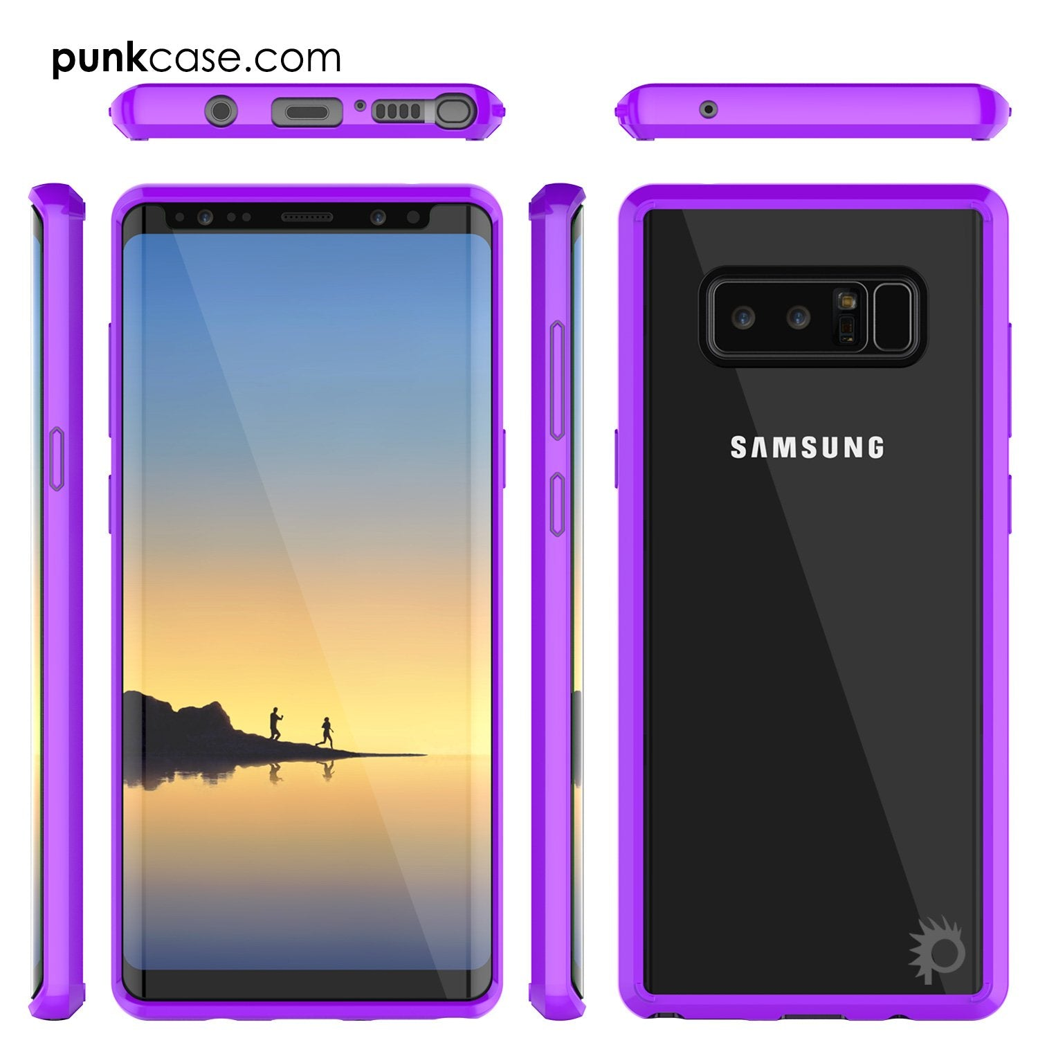Galaxy Note 8 Punkcase, LUCID 2.0 Series Armor Case Anti-Shock, Purple