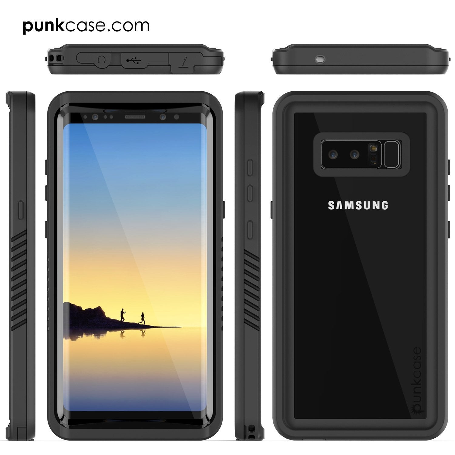 Galaxy Note 8 Punkcase Extreme Series W/ Built In Screen Case, Black