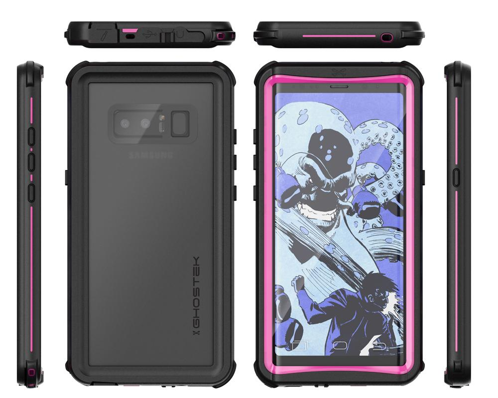 Galaxy Note 8, Ghostek Nautical PunkCase Armor Waterproof, Pink
