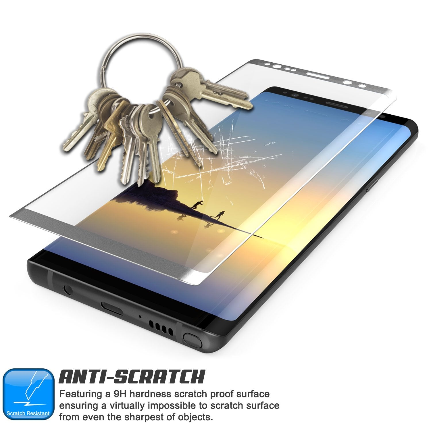 Galaxy Note 8 Silver Punkcase SHIELD Tempered Glass Screen Protector