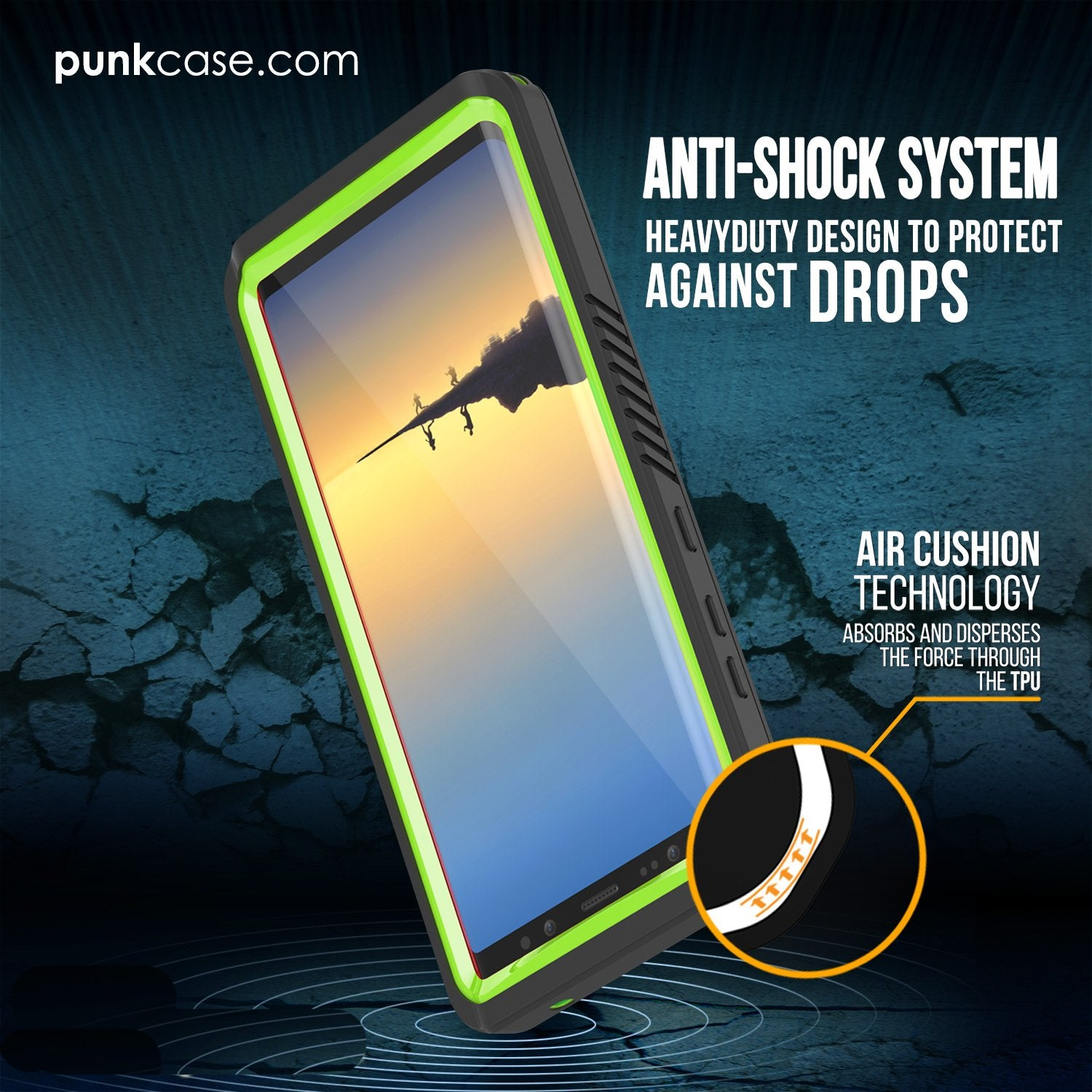 Galaxy Note 8 Waterproof Case, Punkcase [Extreme Series] [Light Green]