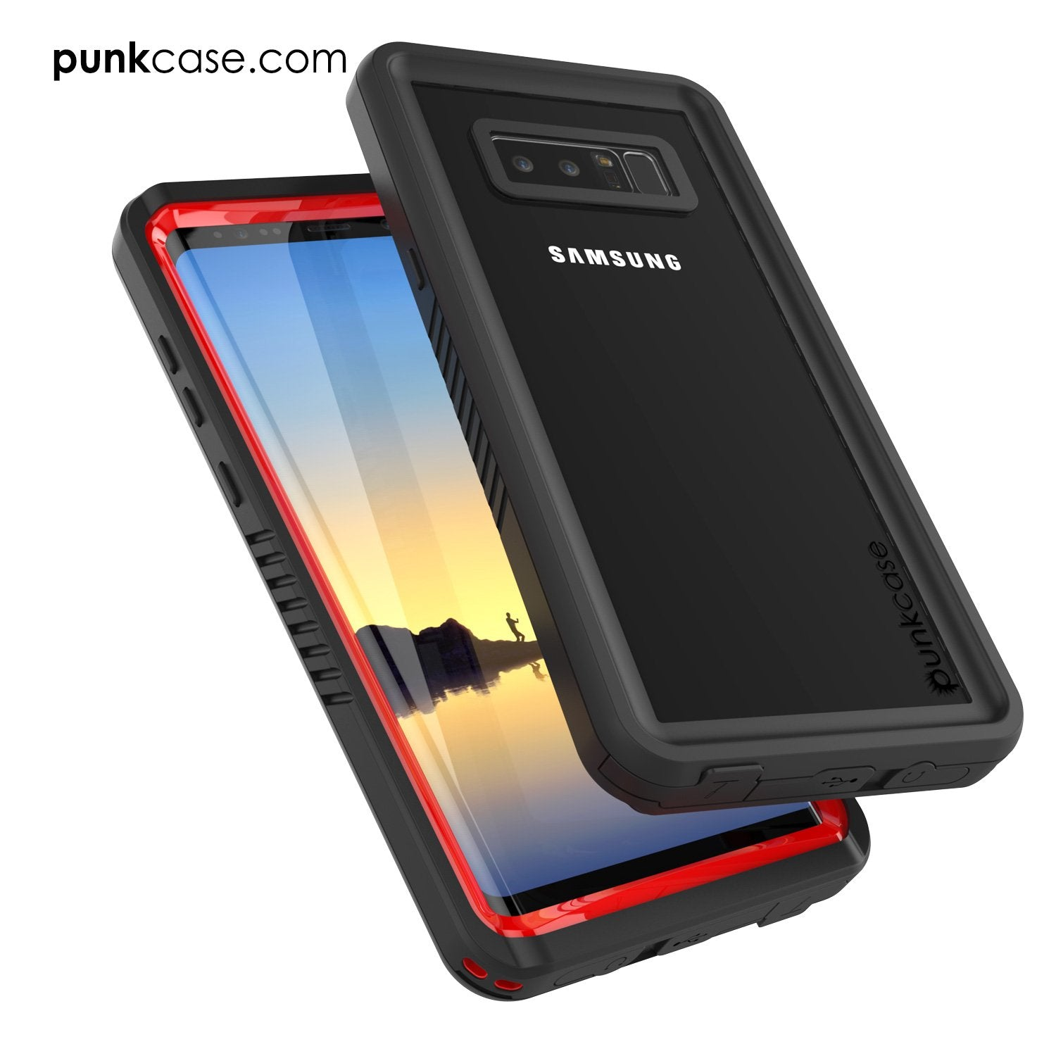 Galaxy Note 8 Waterproof Case, Punkcase [Extreme Series] [Slim] [Red]