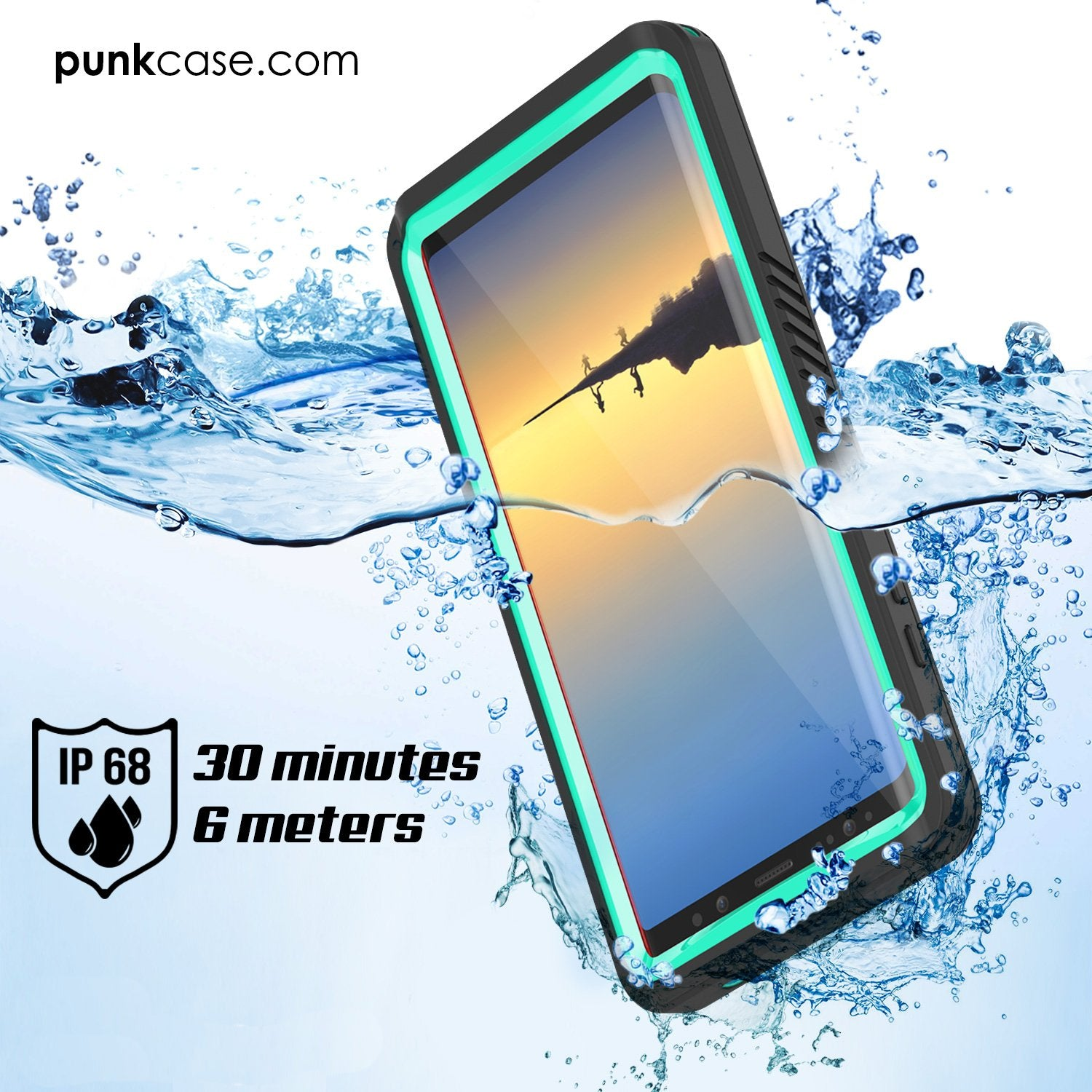 Galaxy Note 8 Waterproof Case, Punkcase [Extreme Series] [Teal]