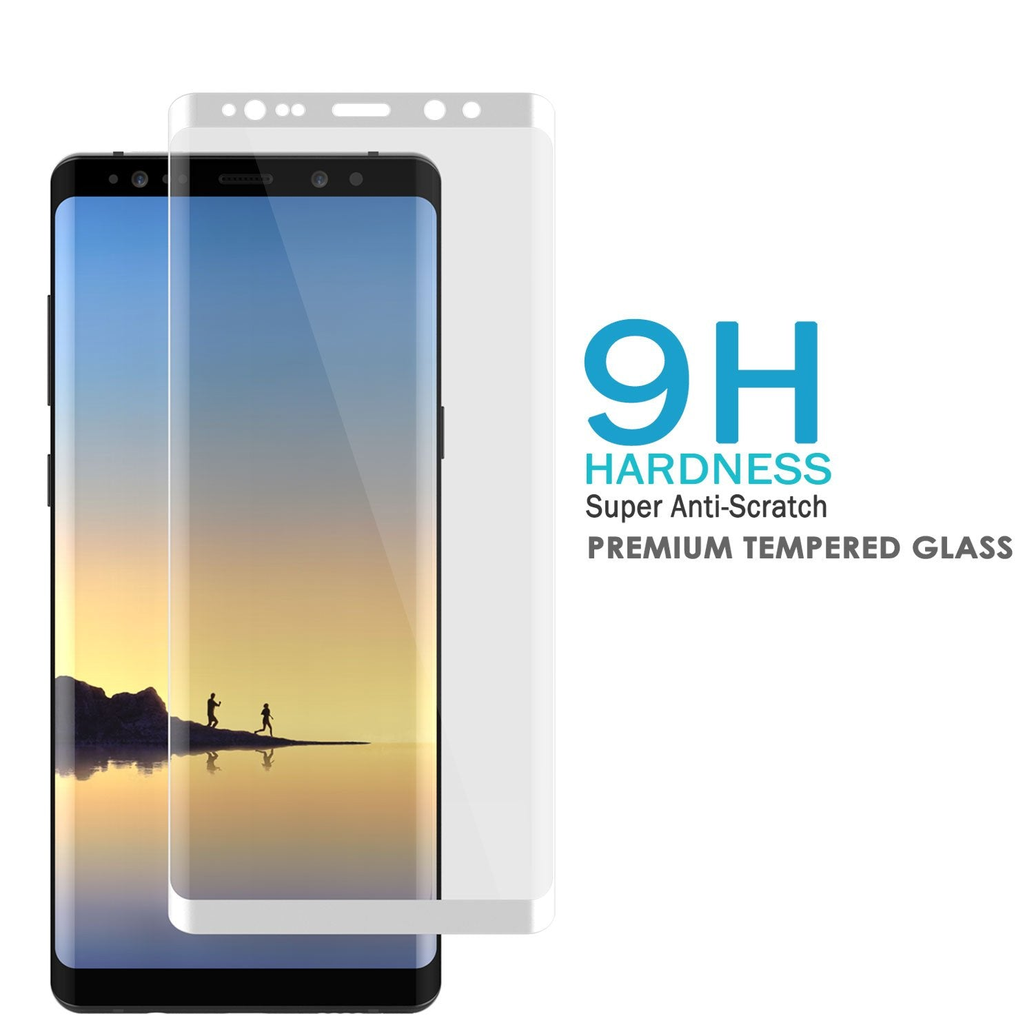 Galaxy Note 8 WHITE Punkcase SHIELD Tempered Glass Screen Protector