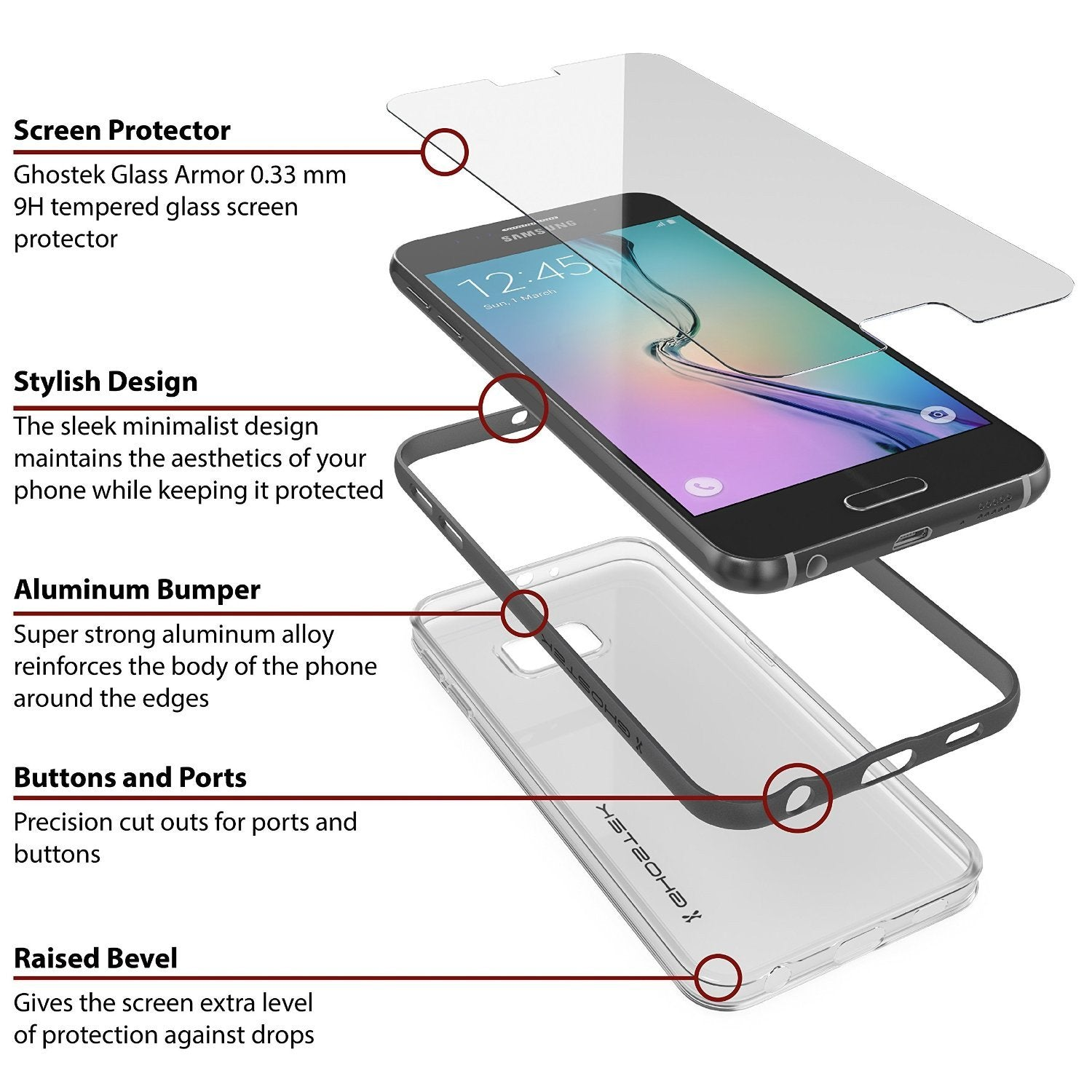 Galaxy S6 Case, Ghostek Cloak Series Black Slim Premium Protective Hybrid Impact Glass Armor