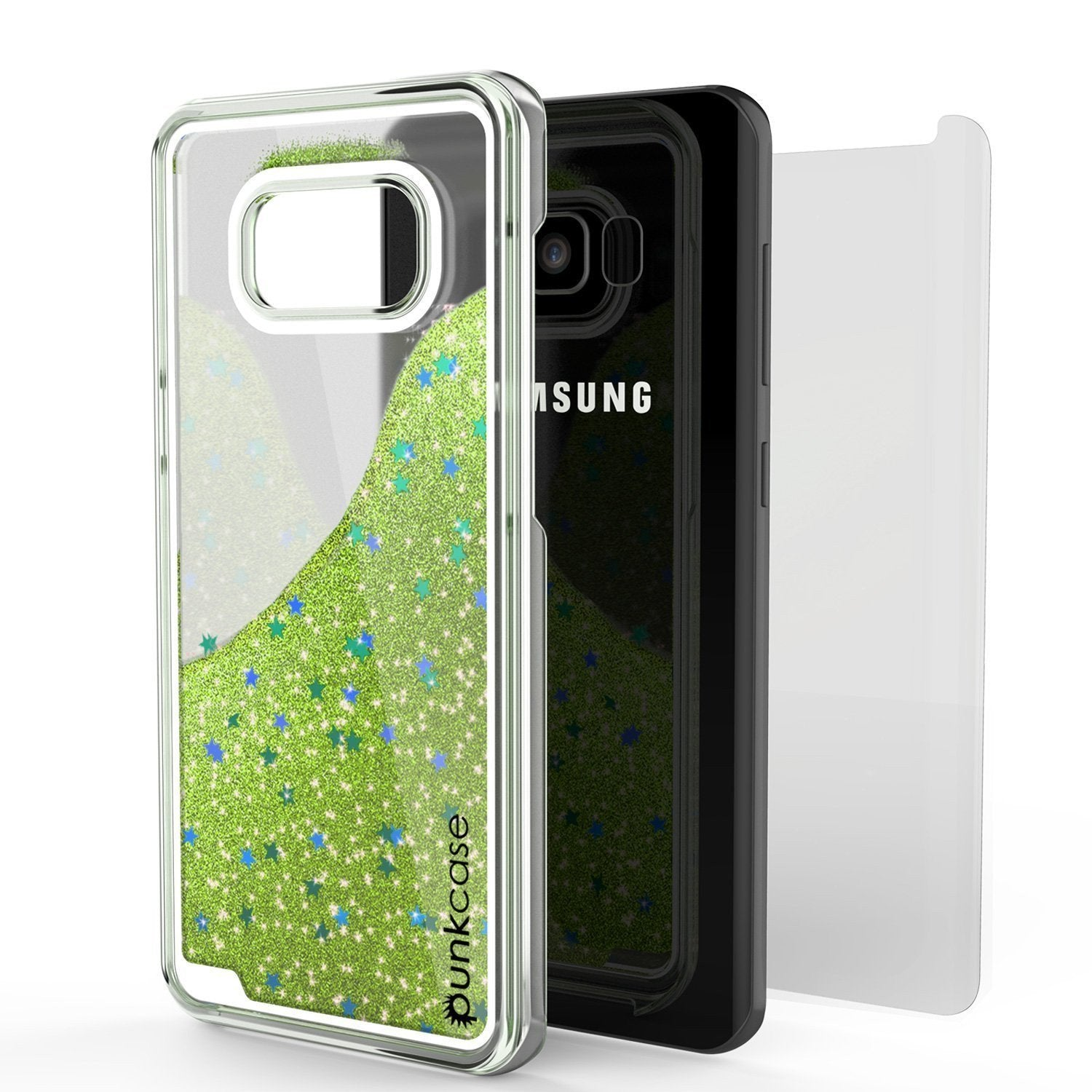 Galaxy S8 Case, Punkcase Liquid Light Green Series Protective Glitter Cover