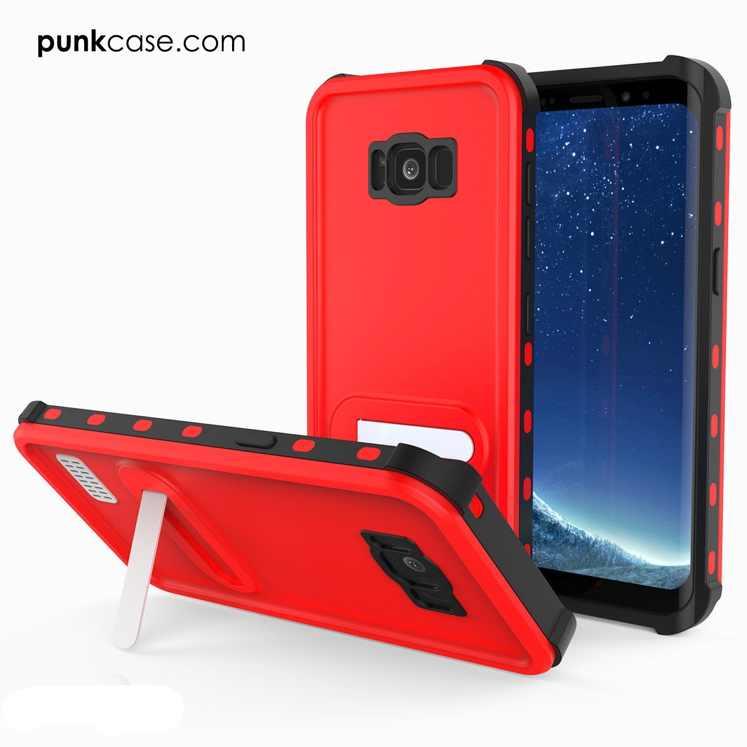 Galaxy S8 Plus PunkCase, [Kickstud Series] Slim Fit Cover [Red]