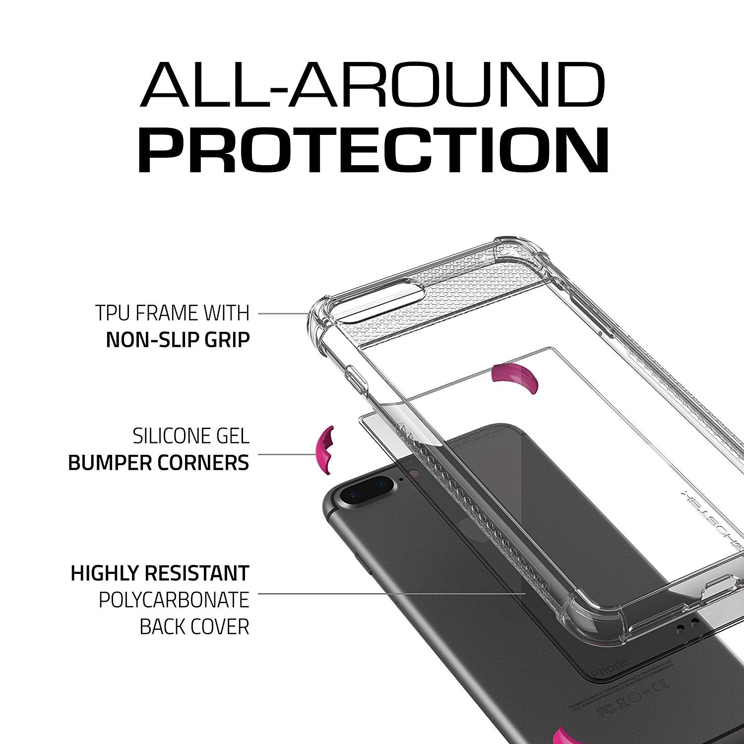 iPhone 8+ Plus Case, Ghostek Covert 2 Series for iPhone 8+ Plus Protective Case [ Pink]