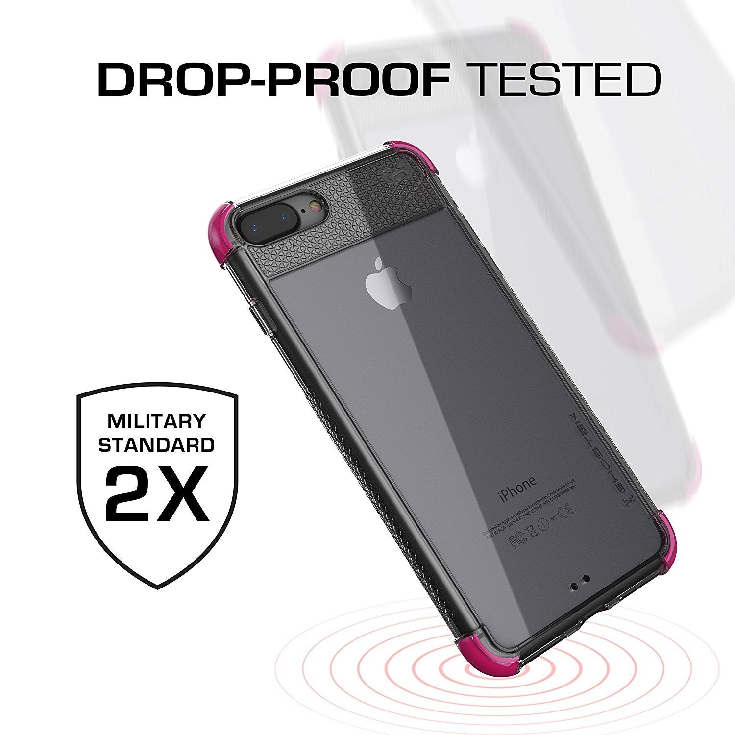 iPhone 7+ Plus Case, Ghostek Covert 2 Series for iPhone 7+ Plus Protective Case [ Pink]