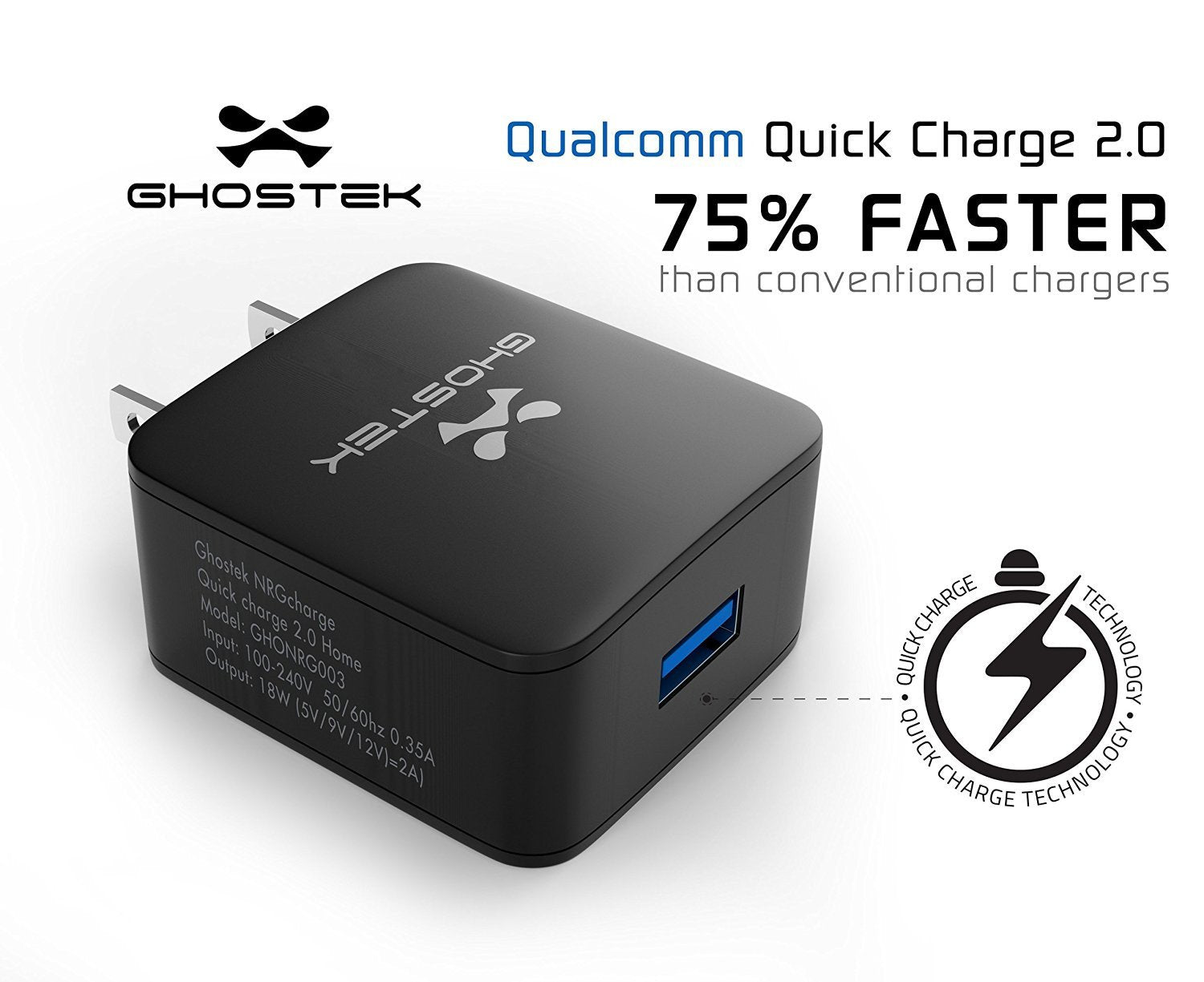 Ghostek® NRGcharge QuickCharge 2.0 Rapid High-speed Fast Wall Home Black Charger w/ Micro USB Cable