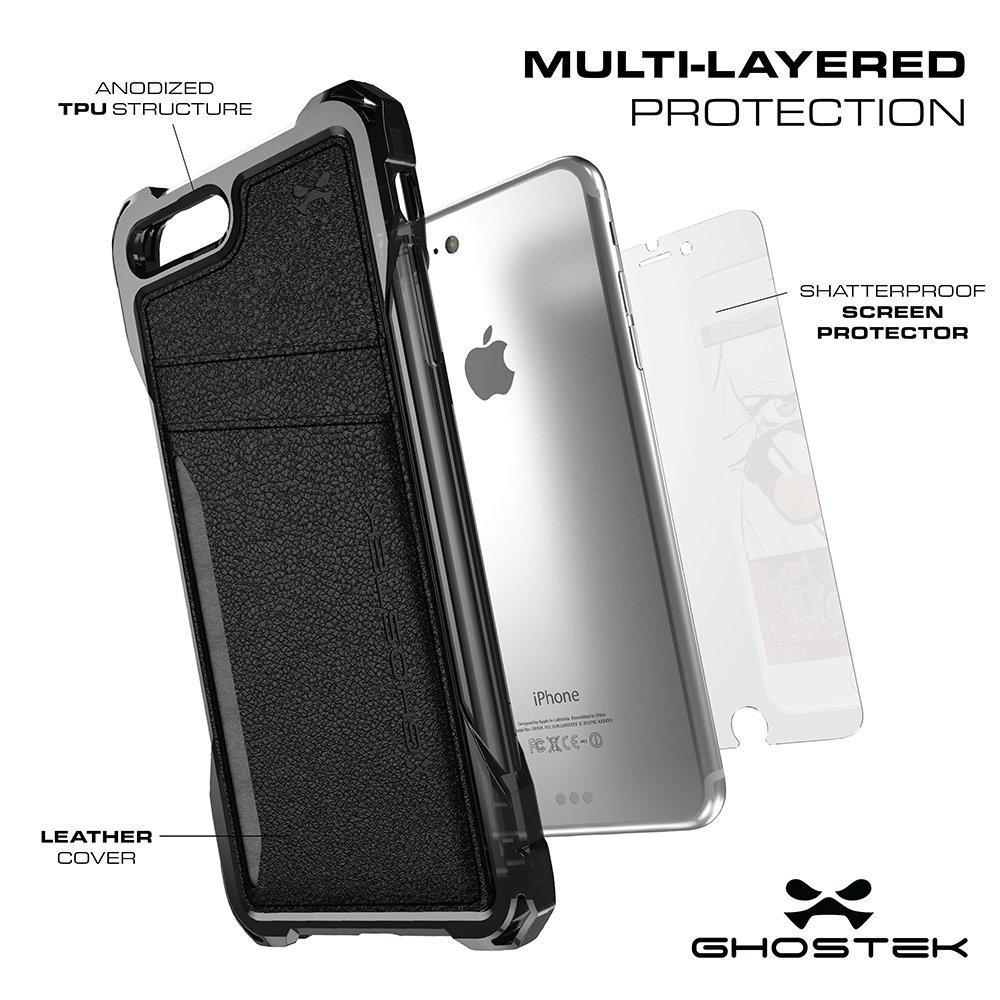 iPhone 7 Plus Wallet Case, Ghostek® Exec Series for Apple iPhone 7 Plus Slim Armor Hybrid Impact Bumper | TPU PU Leather Credit Card Slot Holder Sleeve Cover | Shatterproof Screen Protector (Black)