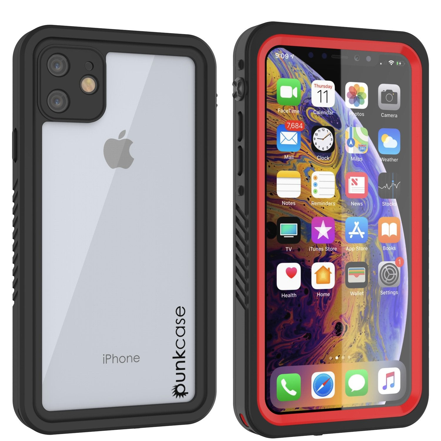 iPhone 11 Waterproof Case, Punkcase [Extreme Series] Armor Cover W/ Built In Screen Protector [Red]