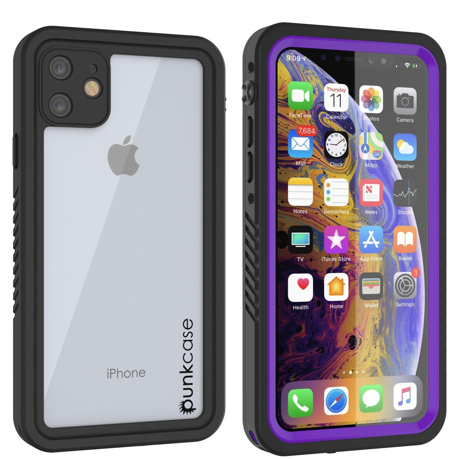 iPhone 11 Waterproof Case, Punkcase [Extreme Series] Armor Cover W/ Built In Screen Protector [Purple]