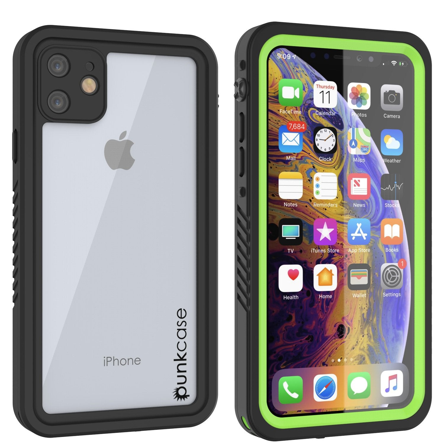 iPhone 11 Waterproof Case, Punkcase [Extreme Series] Armor Cover W/ Built In Screen Protector [Light Green]