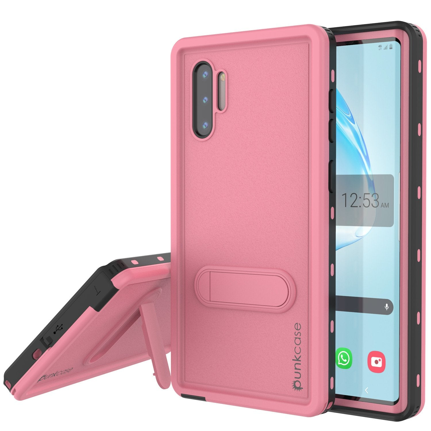 PunkCase Galaxy Note 10 Waterproof Case, [KickStud Series] Armor Cover [Pink]
