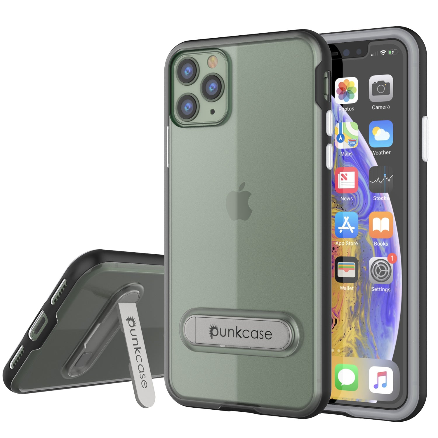 iPhone 11 Pro Max Case, PUNKcase [LUCID 3.0 Series] [Slim Fit] Armor Cover w/ Integrated Screen Protector [Black]