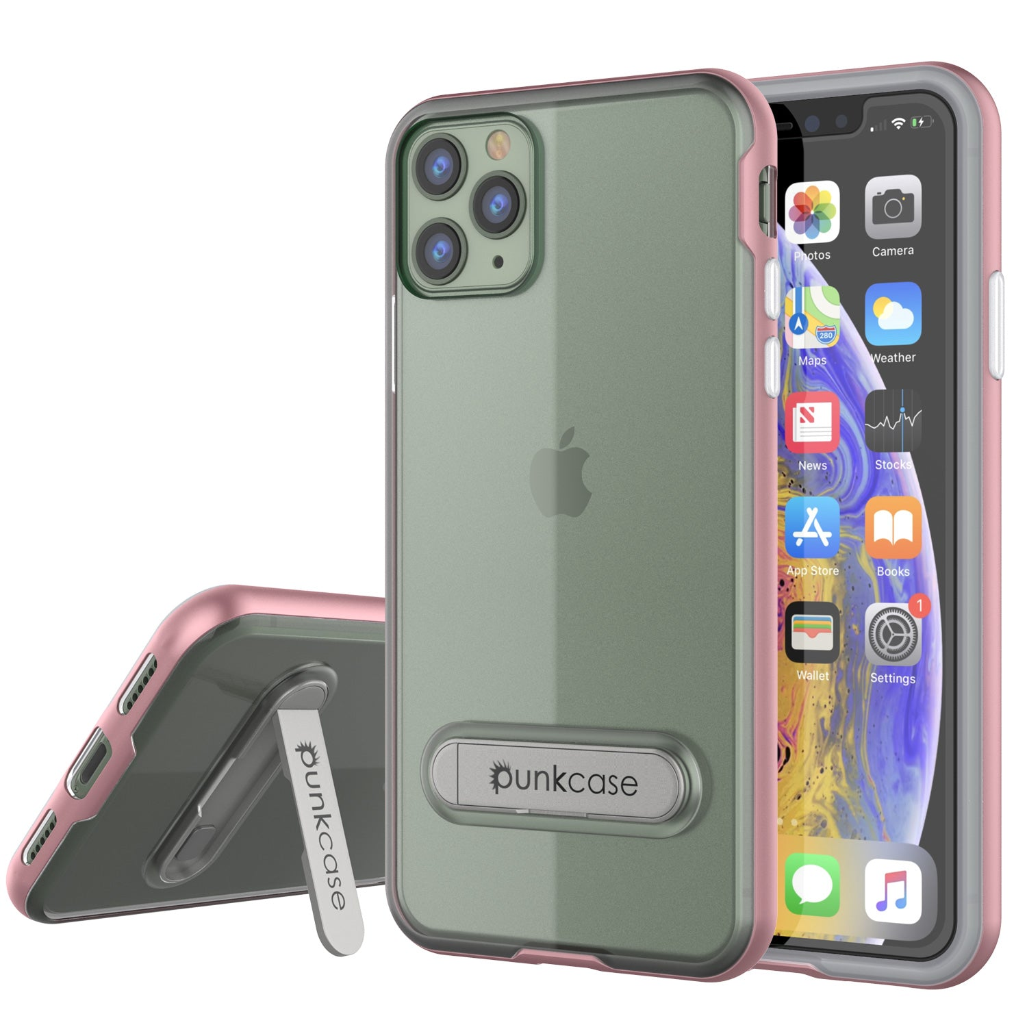 iPhone 11 Pro Max Case, PUNKcase [LUCID 3.0 Series] [Slim Fit] Armor Cover w/ Integrated Screen Protector [Rose Gold]