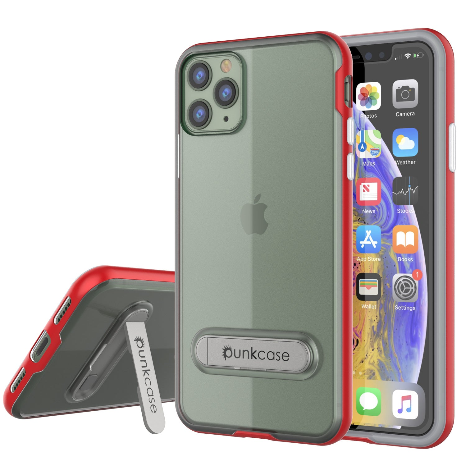 iPhone 11 Pro Max Case, PUNKcase [LUCID 3.0 Series] [Slim Fit] Armor Cover w/ Integrated Screen Protector [Red]