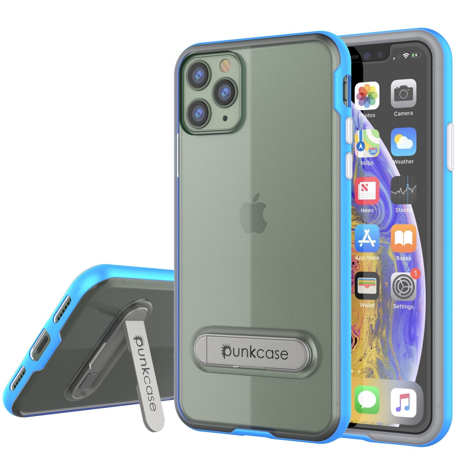 iPhone 12 Pro Case, PUNKcase [LUCID 3.0 Series] [Slim Fit] Protective Cover w/ Integrated Screen Protector [Blue]