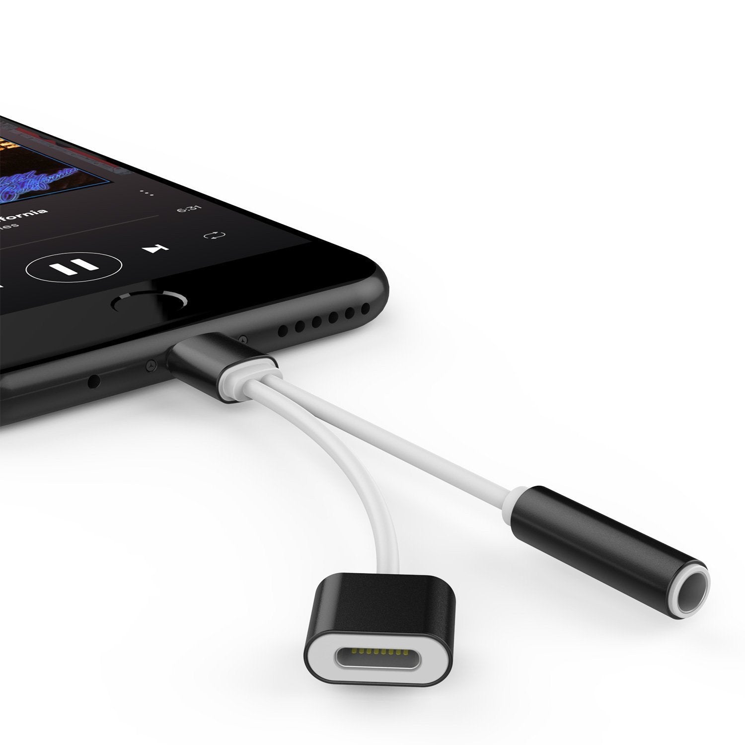 first rate 44ada 202cf Punkzap Adapter Cable 2 in 1 Splitter Charger W/Earphone iphone x/8/7