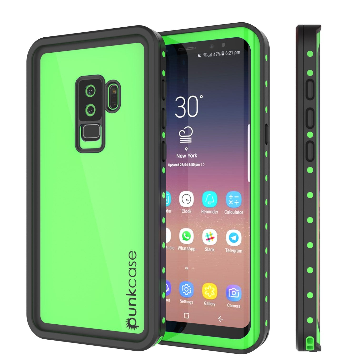 Galaxy S9 Plus Waterproof Case PunkCase StudStar Light Green Thin 6.6ft