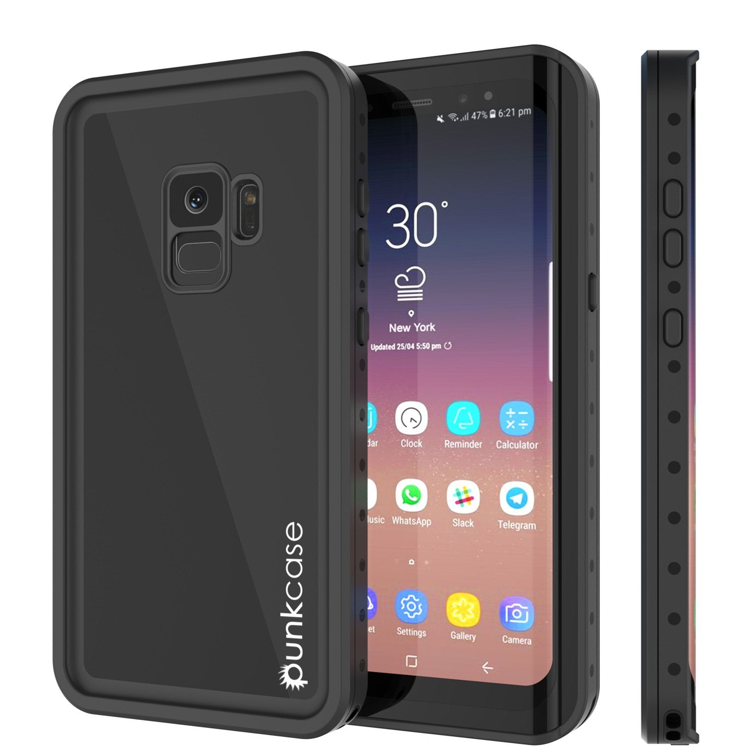 Galaxy S9 Waterproof Case, PunkCase StudStar Black Thin Cover