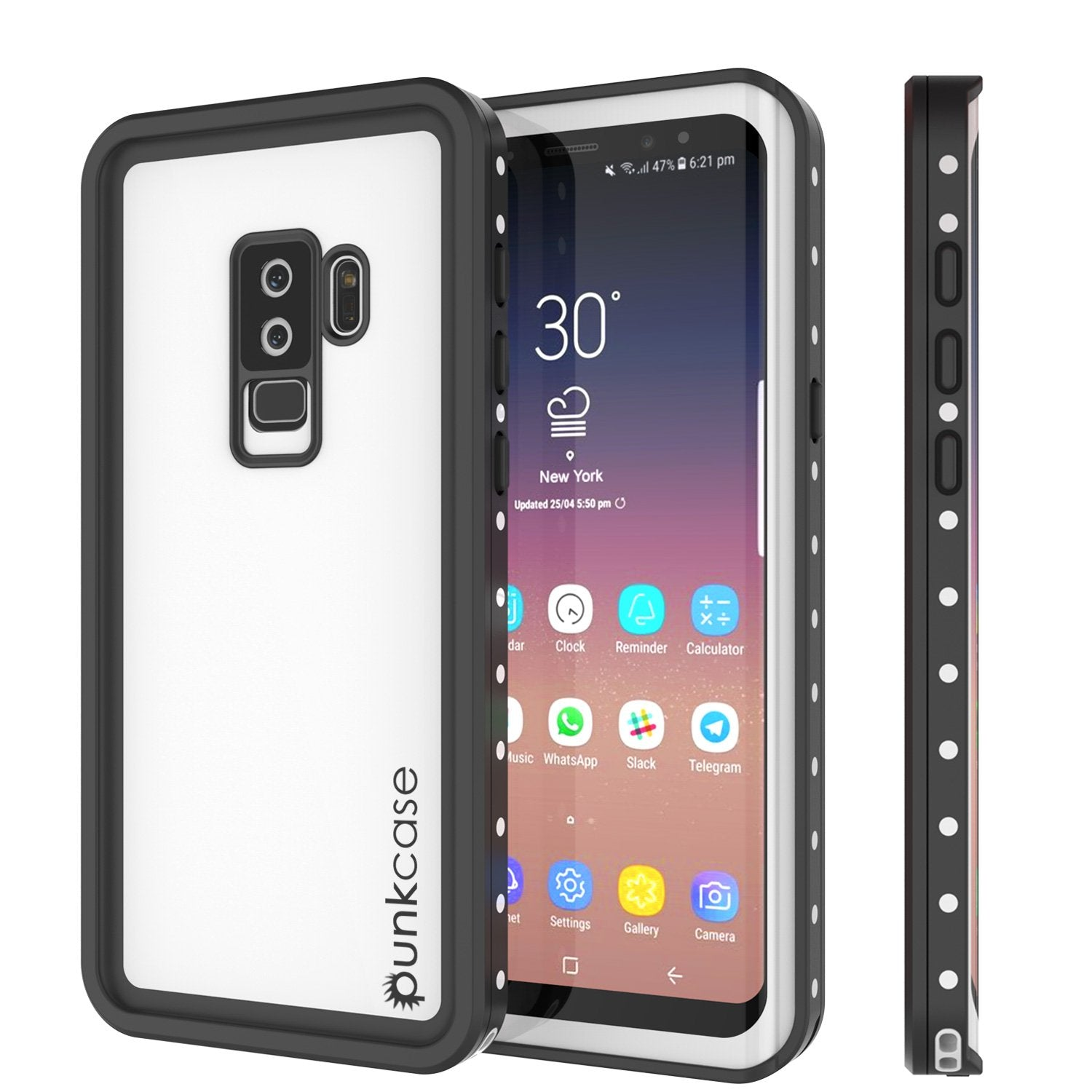 Galaxy S9 Plus Waterproof Case, Punkcase StudStar White Thin 6.6ft ft