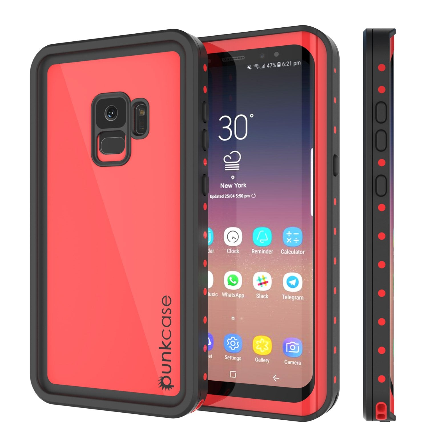 Galaxy S9 Waterproof Case PunkCase StudStar Red Thin 6.6ft Underwater IP68 Shock/Snow Proof