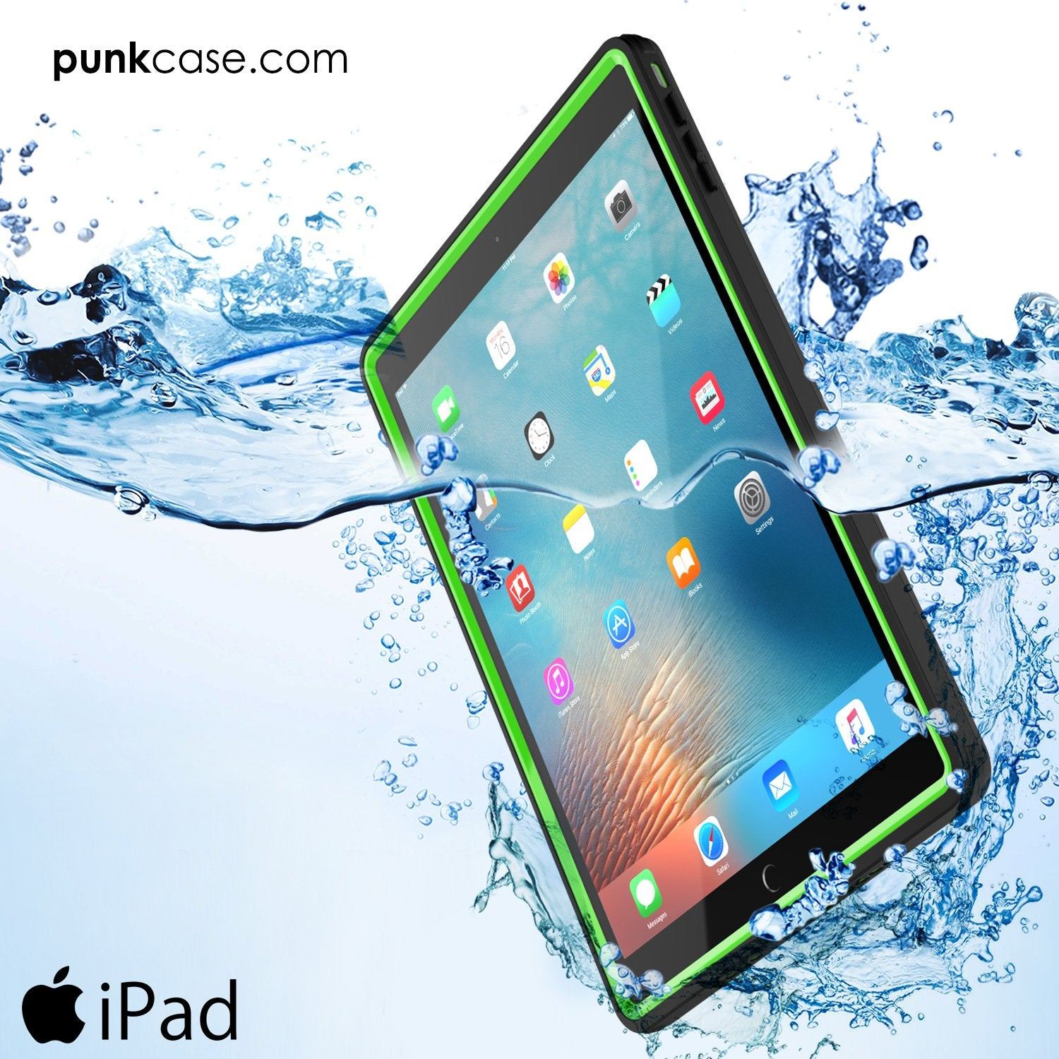 Punkcase iPad Pro 9.7 Case [CRYSTAL Series], Waterproof, Ultra-Thin Cover [Shockproof] [Dustproof] with Built-in Screen Protector [Light Green]