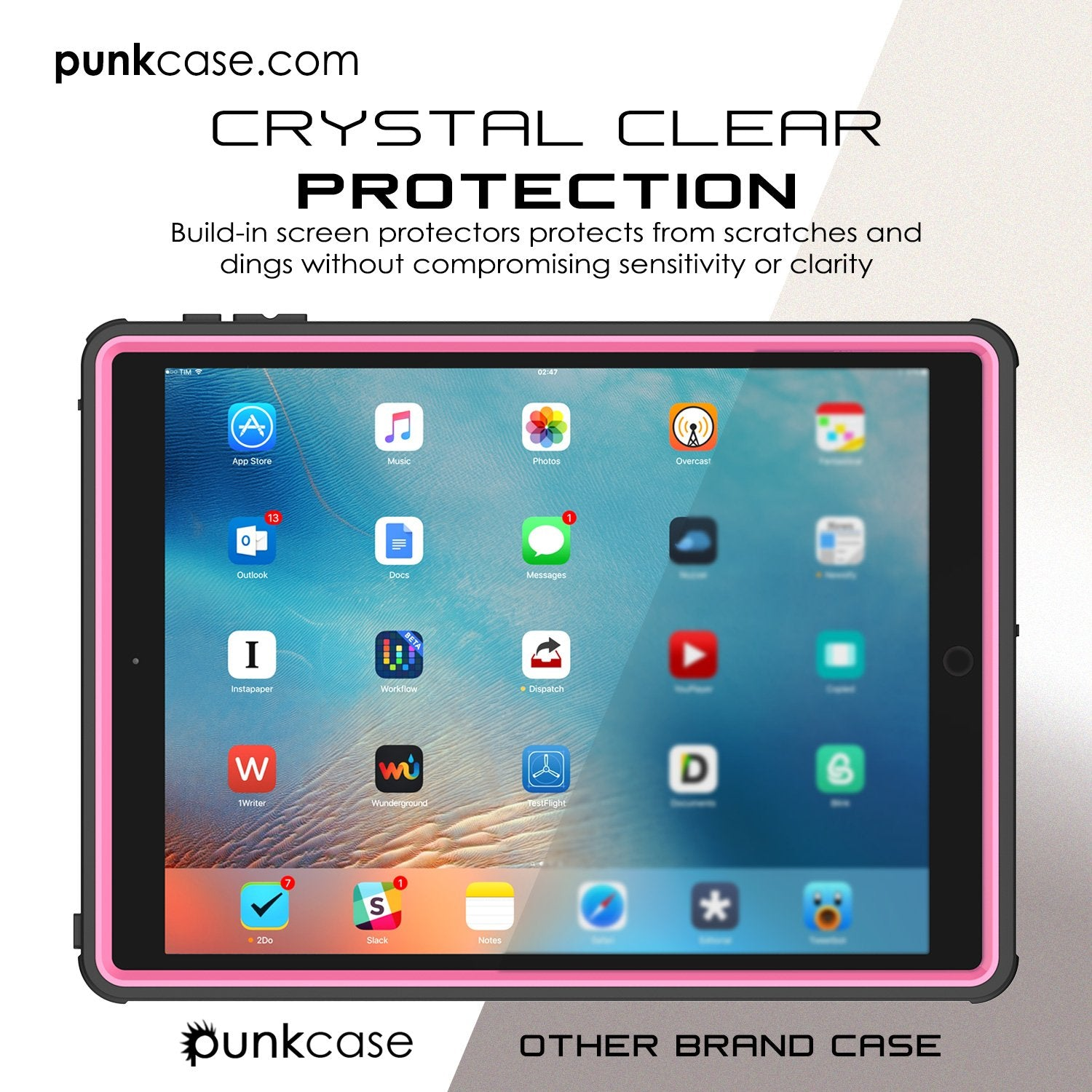 Punkcase iPad Pro 9.7 Case [CRYSTAL Series], Waterproof, Ultra-Thin Cover [Shockproof] [Dustproof] with Built-in Screen Protector [Pink]